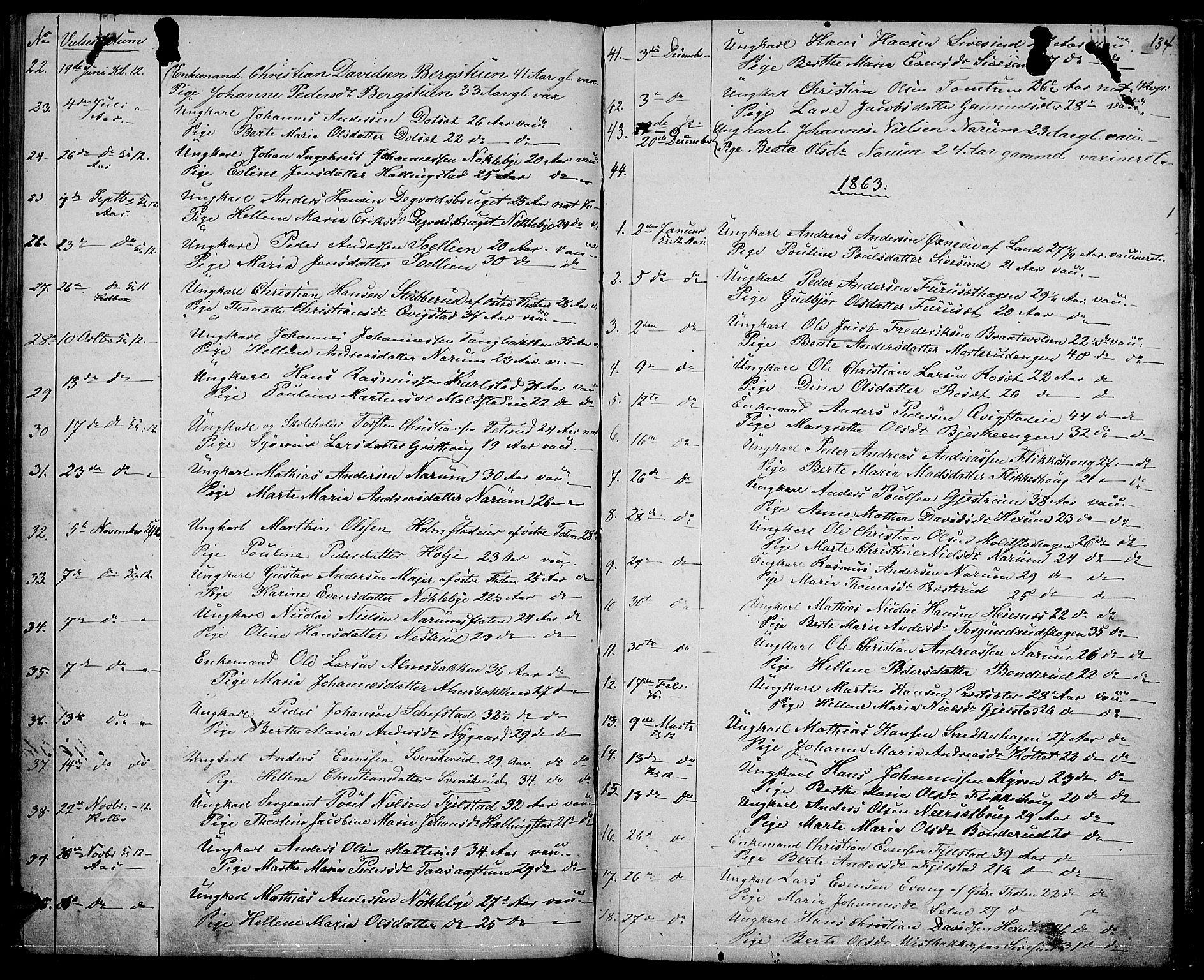 SAH, Vestre Toten prestekontor, Klokkerbok nr. 5, 1854-1870, s. 134