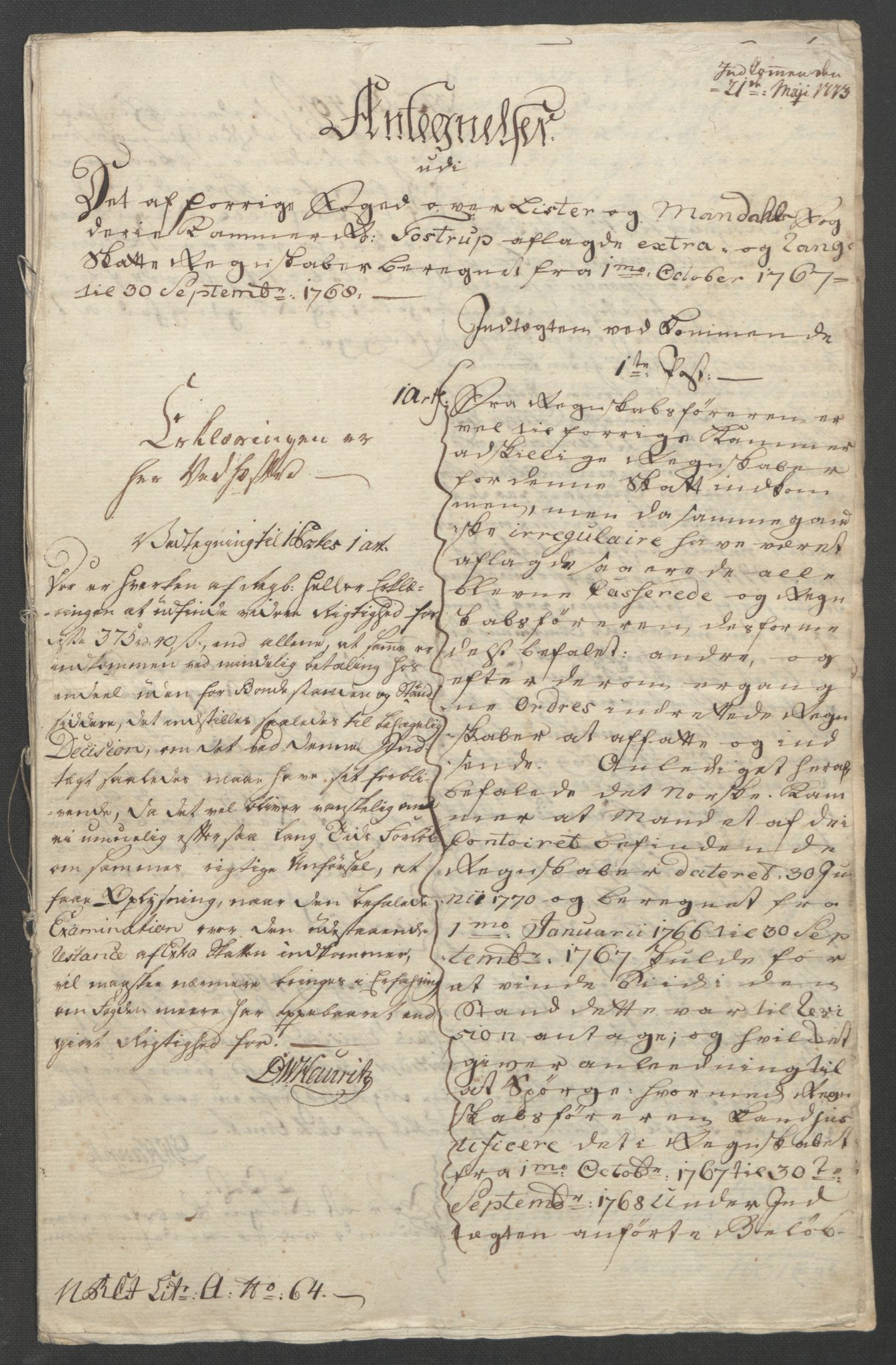 RA, Rentekammeret inntil 1814, Reviderte regnskaper, Fogderegnskap, R45/L2704: Ekstraskatten Lista og Mandal, 1762-1768, s. 370