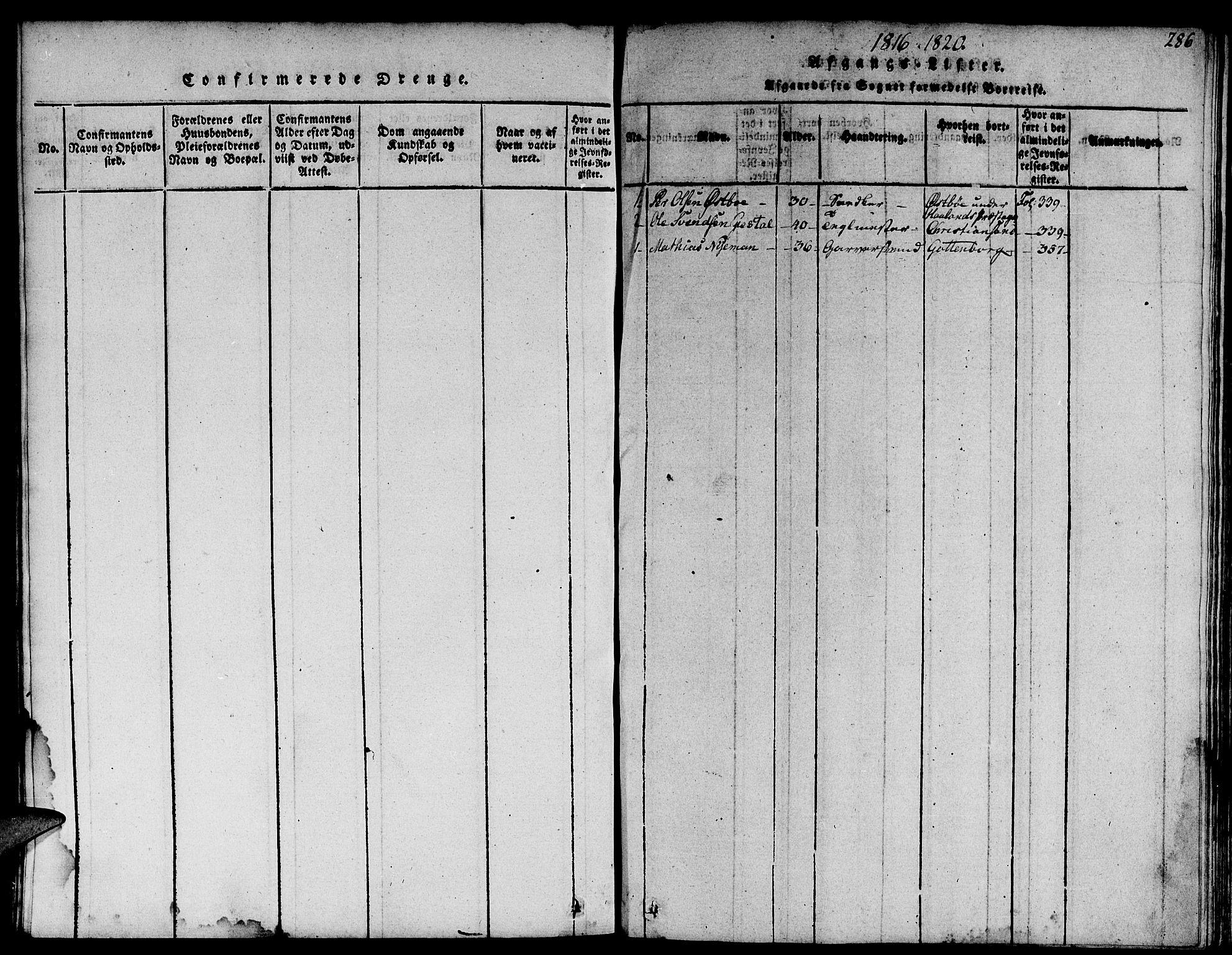 SAST, Domkirken sokneprestkontor, 30/30BA/L0008: Ministerialbok nr. A 8, 1816-1821, s. 286