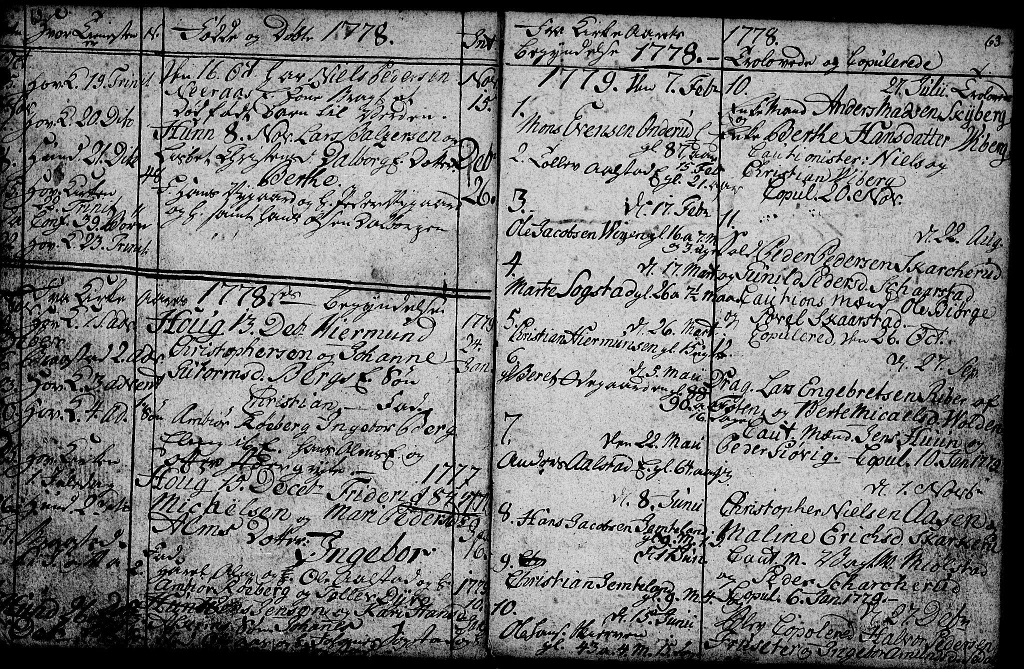 SAH, Vardal prestekontor, H/Ha/Hab/L0001: Klokkerbok nr. 1, 1771-1790, s. 62-63