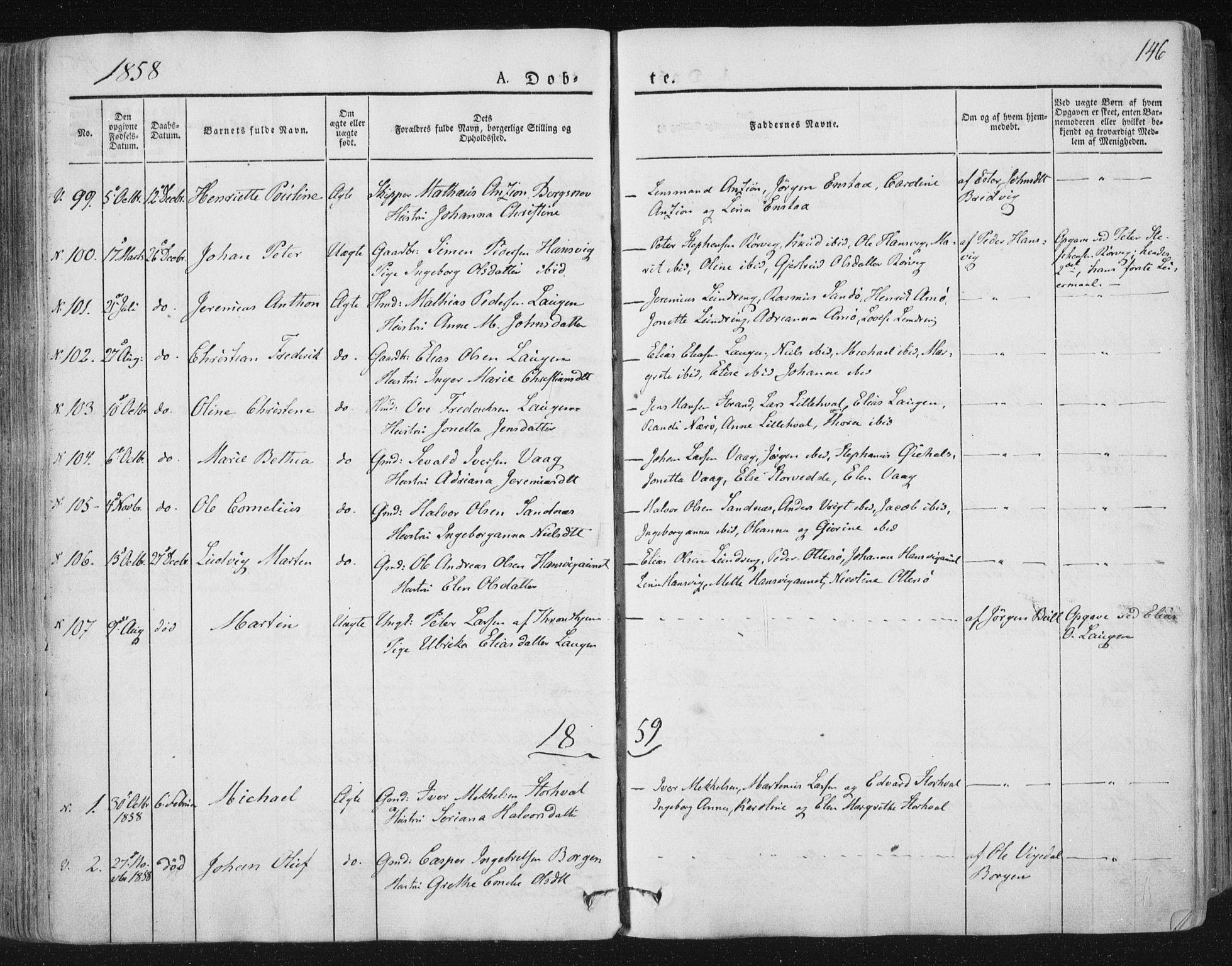 SAT, Ministerialprotokoller, klokkerbøker og fødselsregistre - Nord-Trøndelag, 784/L0669: Ministerialbok nr. 784A04, 1829-1859, s. 146