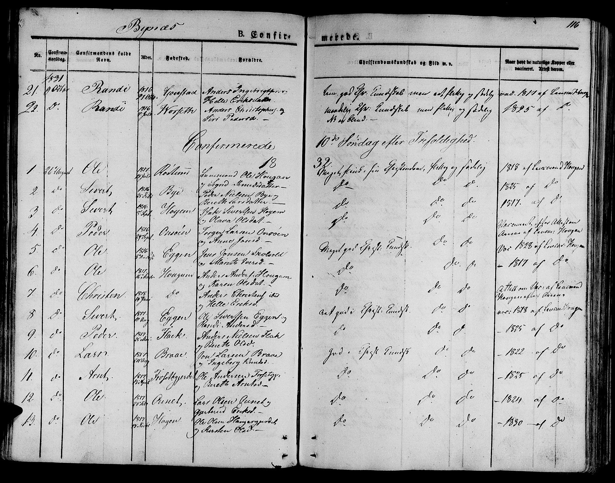 SAT, Ministerialprotokoller, klokkerbøker og fødselsregistre - Sør-Trøndelag, 612/L0374: Ministerialbok nr. 612A07 /1, 1829-1845, s. 116