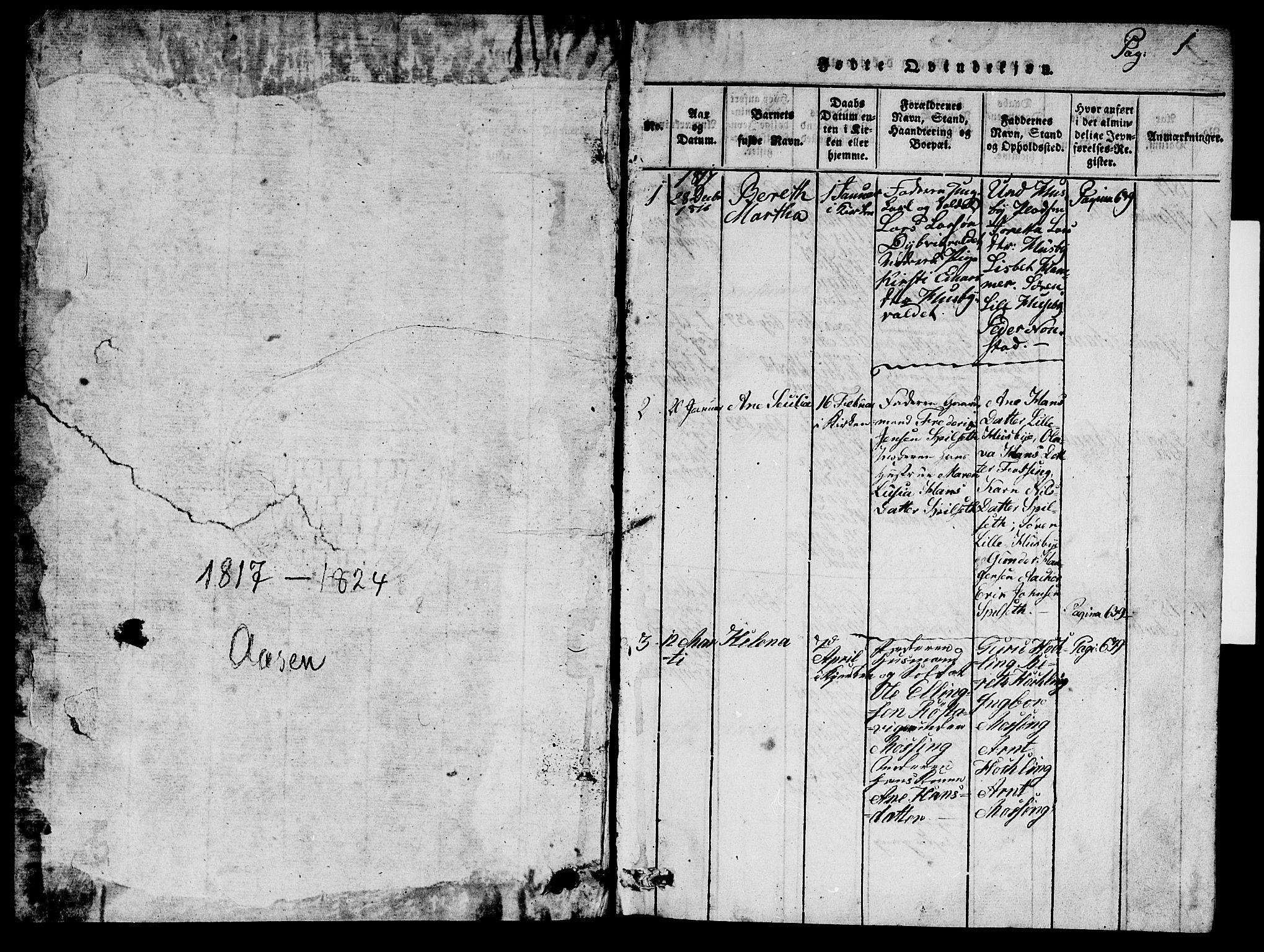 SAT, Ministerialprotokoller, klokkerbøker og fødselsregistre - Nord-Trøndelag, 714/L0132: Klokkerbok nr. 714C01, 1817-1824, s. 0-1