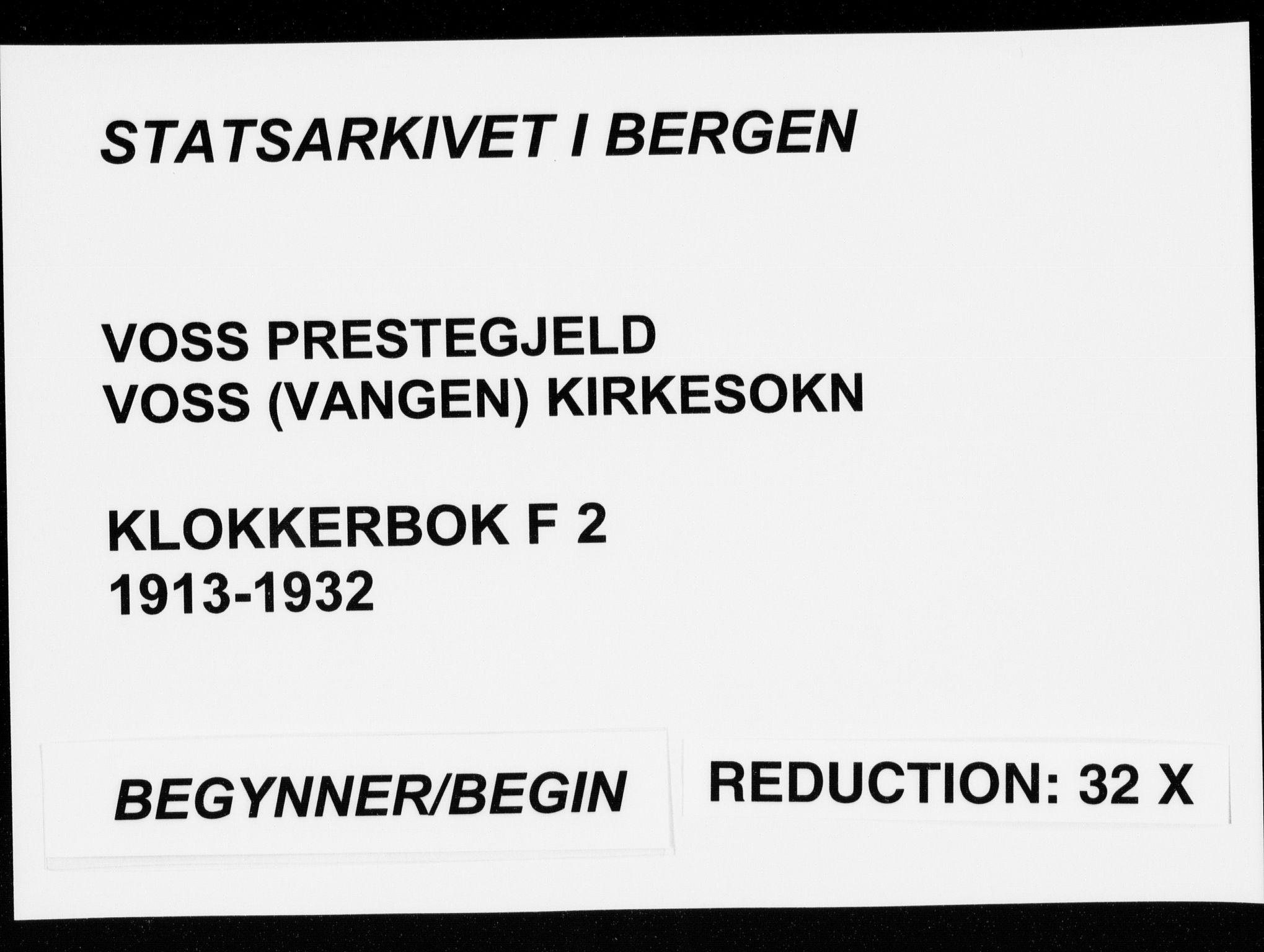 SAB, Voss Sokneprestembete, H/Hab: Klokkerbok nr. F  2, 1913-1932