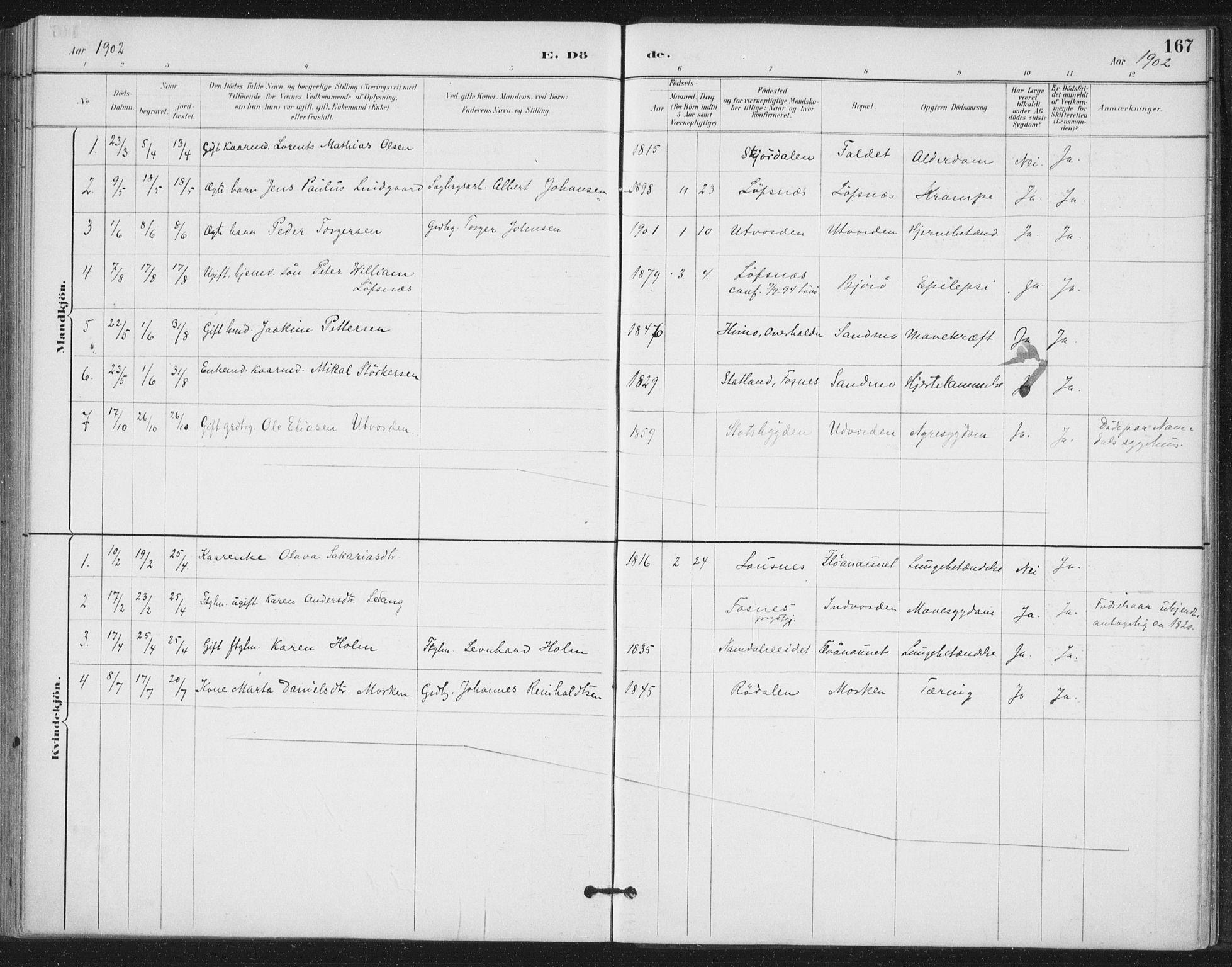 SAT, Ministerialprotokoller, klokkerbøker og fødselsregistre - Nord-Trøndelag, 772/L0603: Ministerialbok nr. 772A01, 1885-1912, s. 167