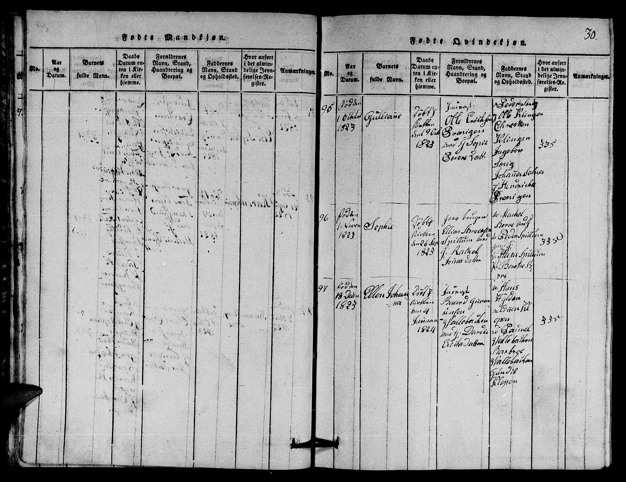 SAT, Ministerialprotokoller, klokkerbøker og fødselsregistre - Nord-Trøndelag, 770/L0590: Klokkerbok nr. 770C01, 1815-1824, s. 30