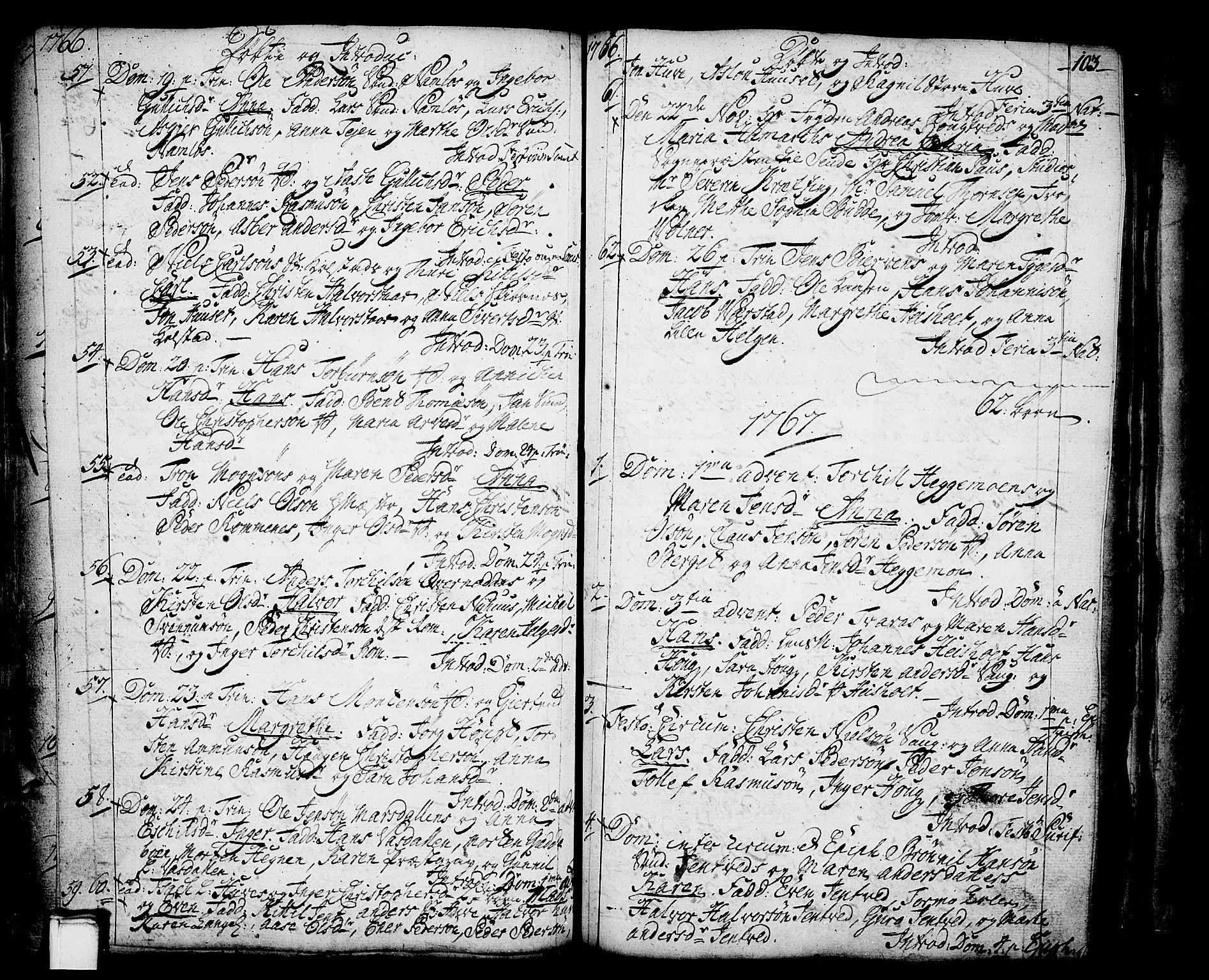 SAKO, Holla kirkebøker, F/Fa/L0001: Ministerialbok nr. 1, 1717-1779, s. 103