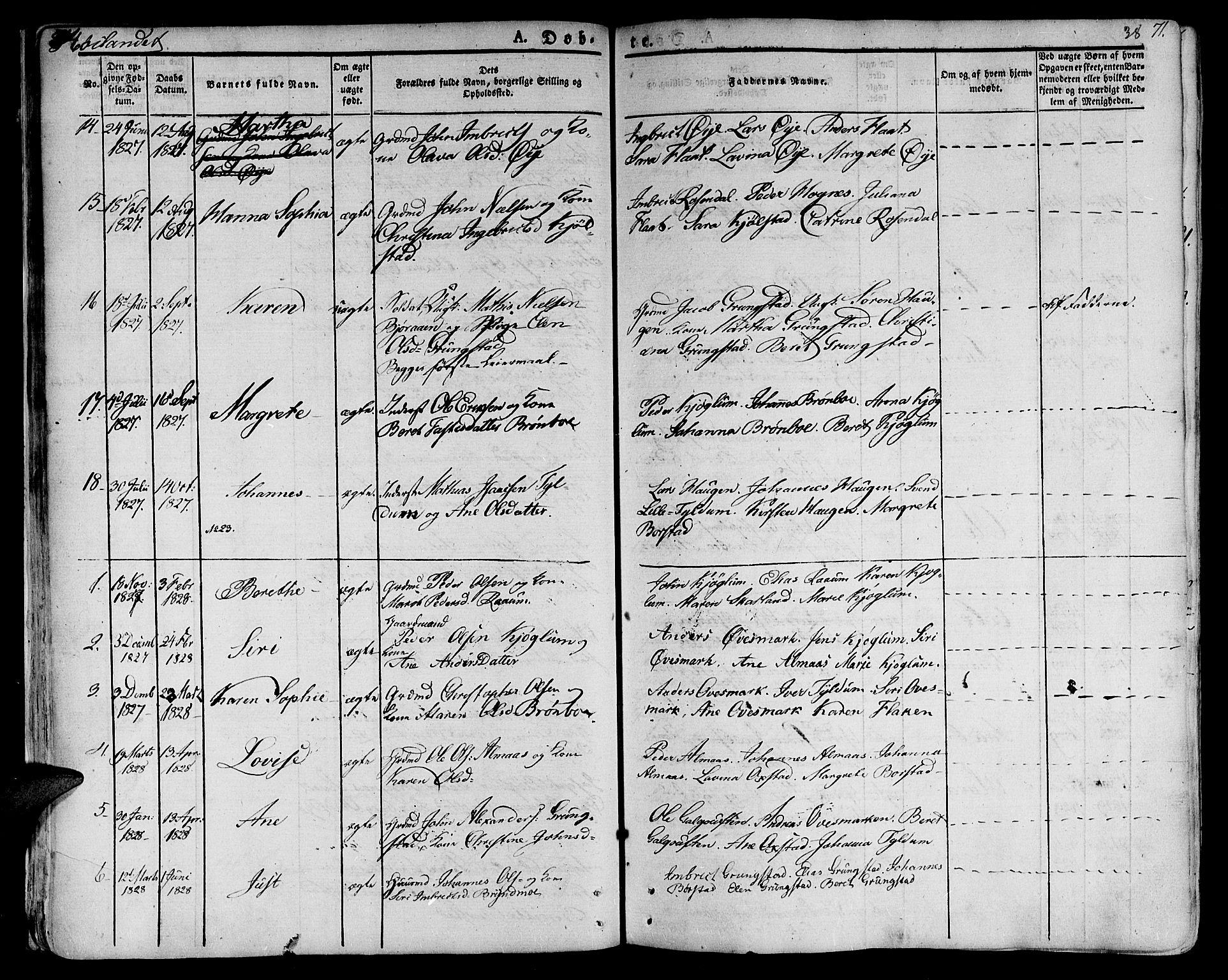 SAT, Ministerialprotokoller, klokkerbøker og fødselsregistre - Nord-Trøndelag, 758/L0510: Ministerialbok nr. 758A01 /2, 1821-1841, s. 38