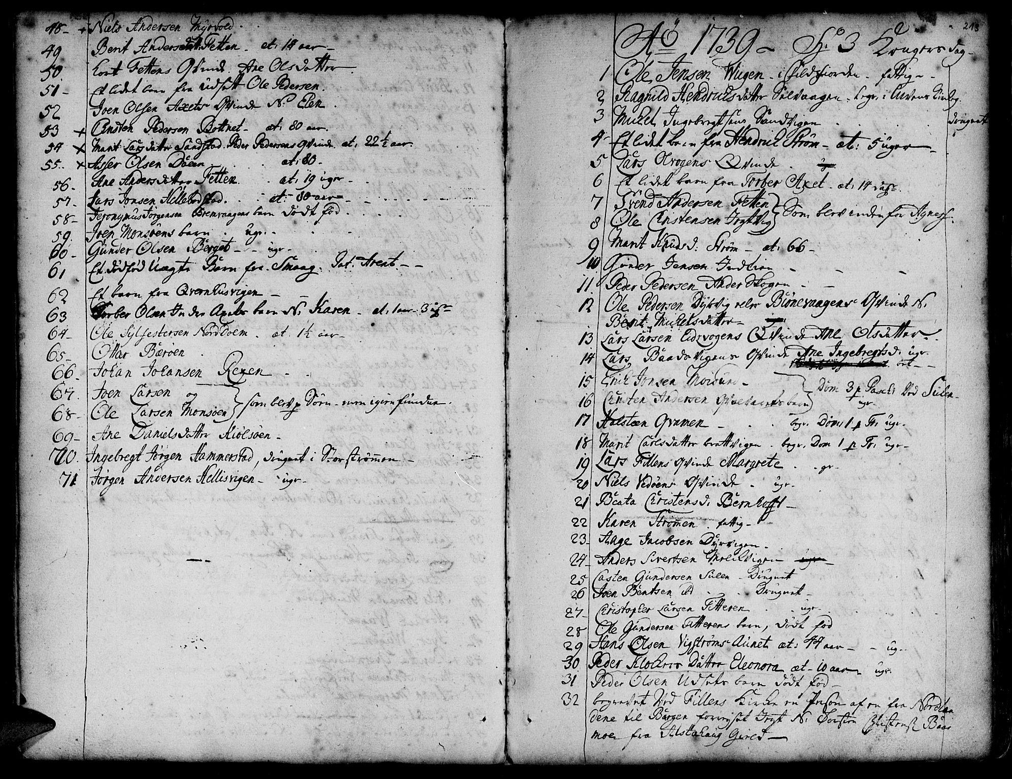 SAT, Ministerialprotokoller, klokkerbøker og fødselsregistre - Sør-Trøndelag, 634/L0525: Ministerialbok nr. 634A01, 1736-1775, s. 213