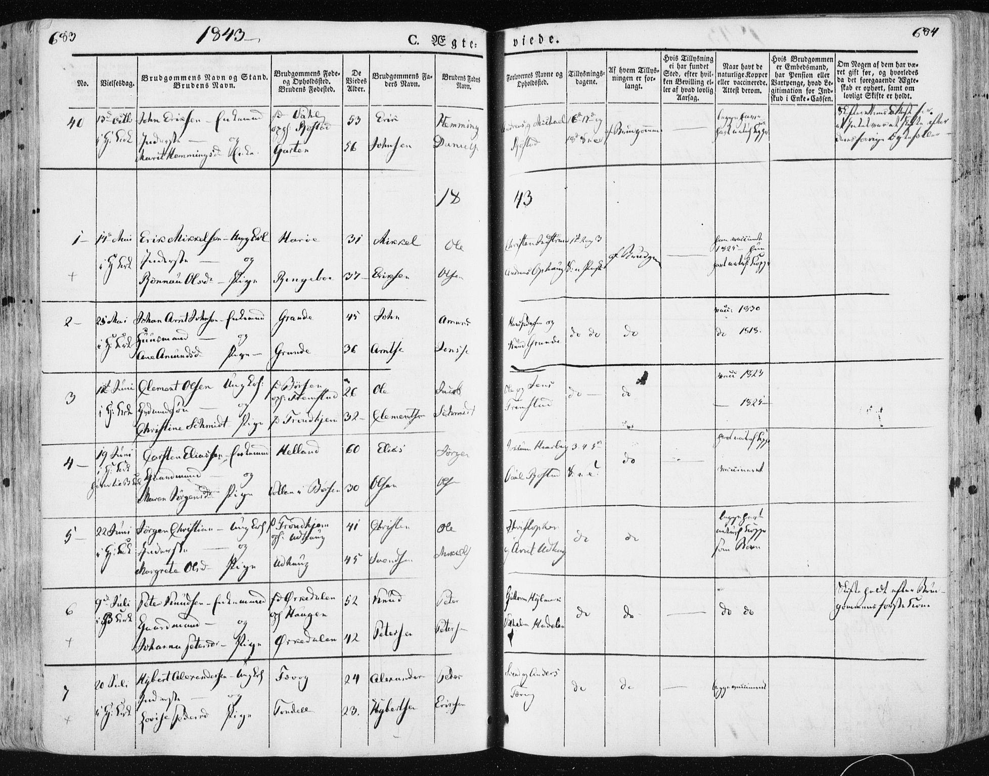 SAT, Ministerialprotokoller, klokkerbøker og fødselsregistre - Sør-Trøndelag, 659/L0736: Ministerialbok nr. 659A06, 1842-1856, s. 683-684