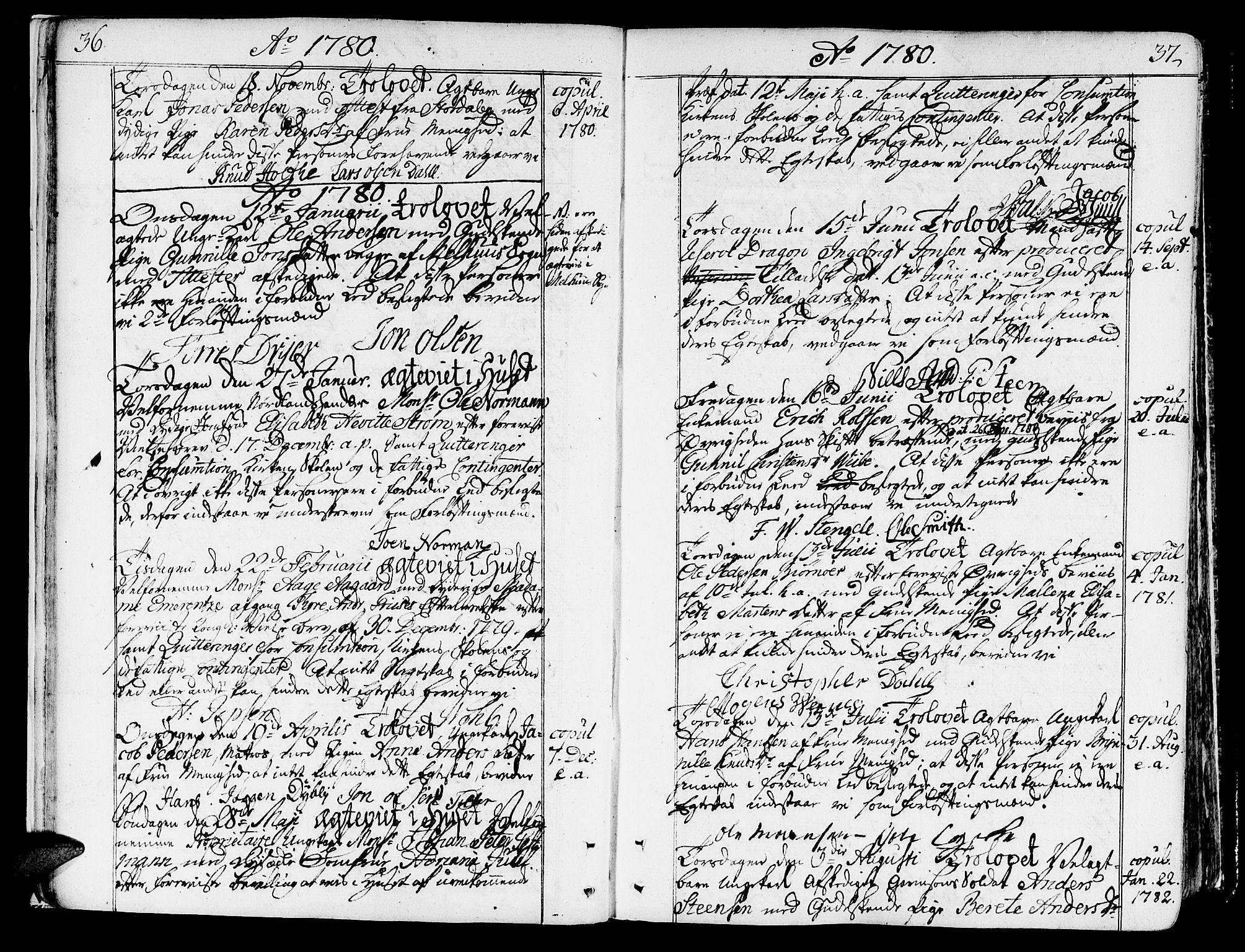 SAT, Ministerialprotokoller, klokkerbøker og fødselsregistre - Sør-Trøndelag, 602/L0105: Ministerialbok nr. 602A03, 1774-1814, s. 36-37