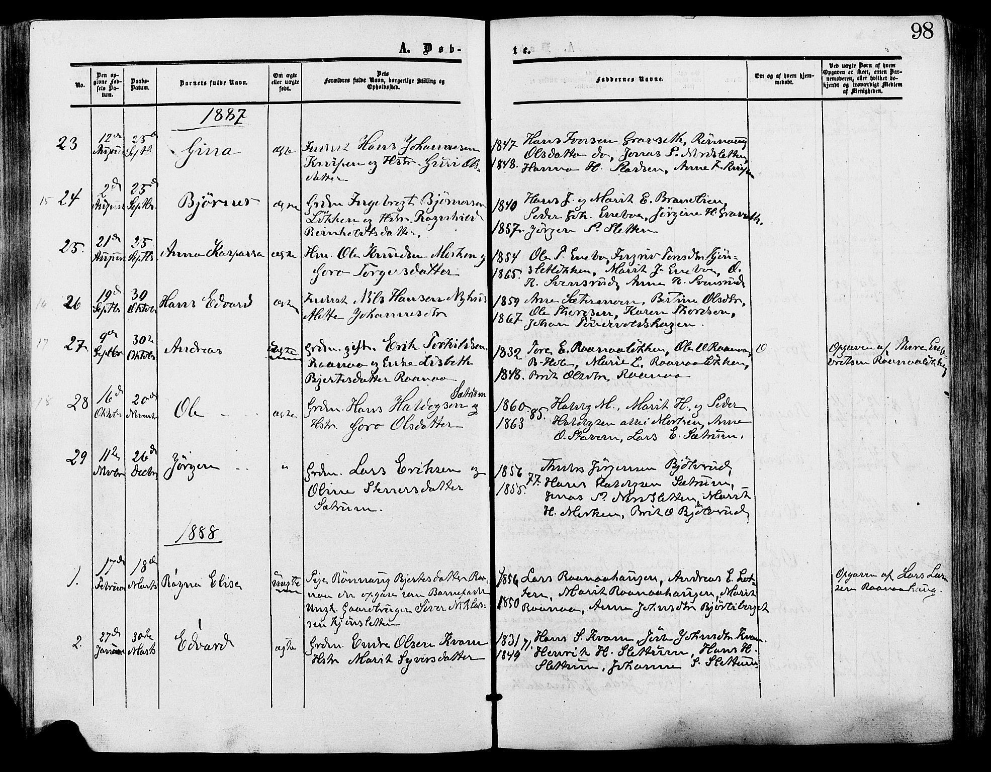 SAH, Lesja prestekontor, Ministerialbok nr. 9, 1854-1889, s. 98
