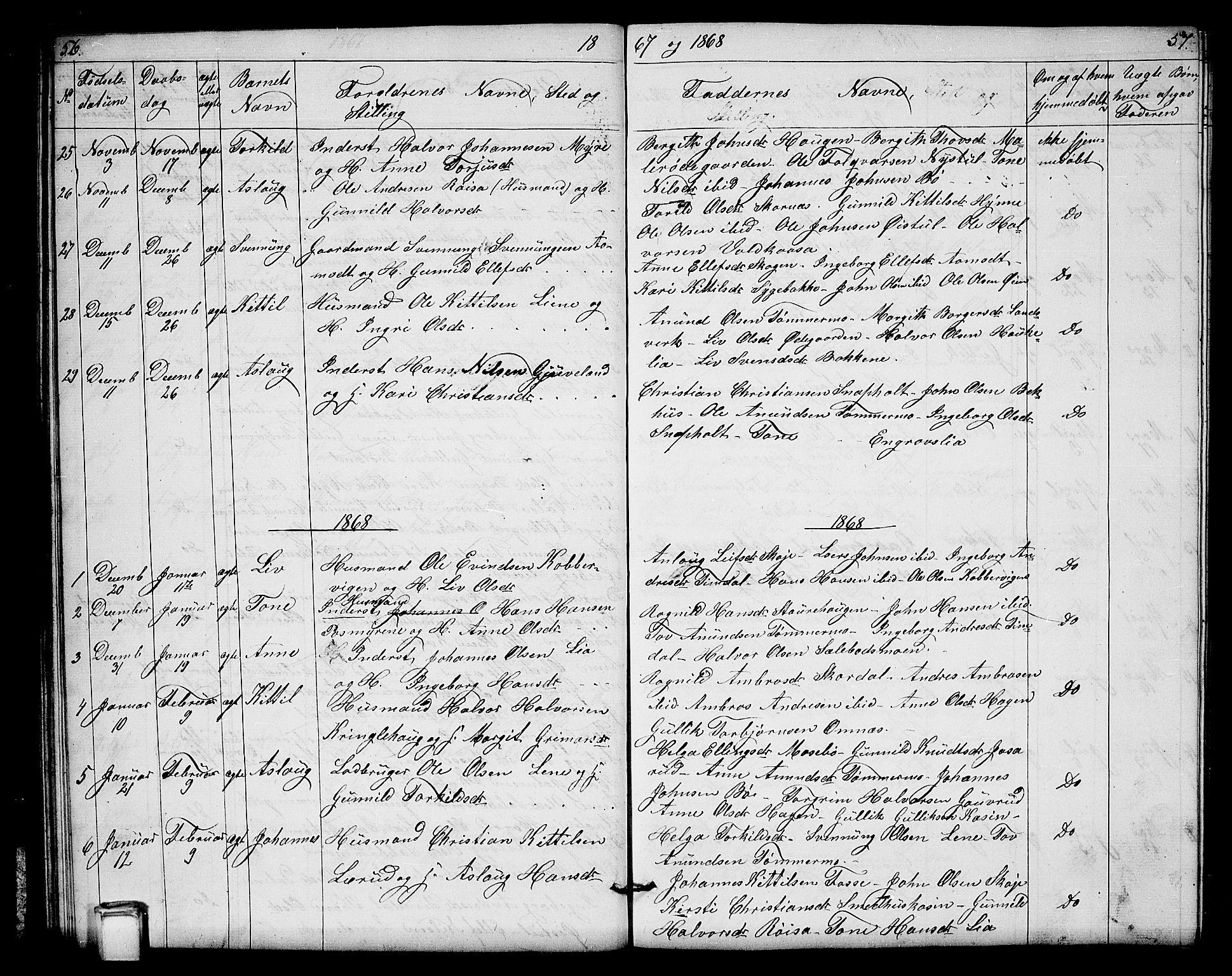 SAKO, Hjartdal kirkebøker, G/Gb/L0002: Klokkerbok nr. II 2, 1854-1884, s. 56-57