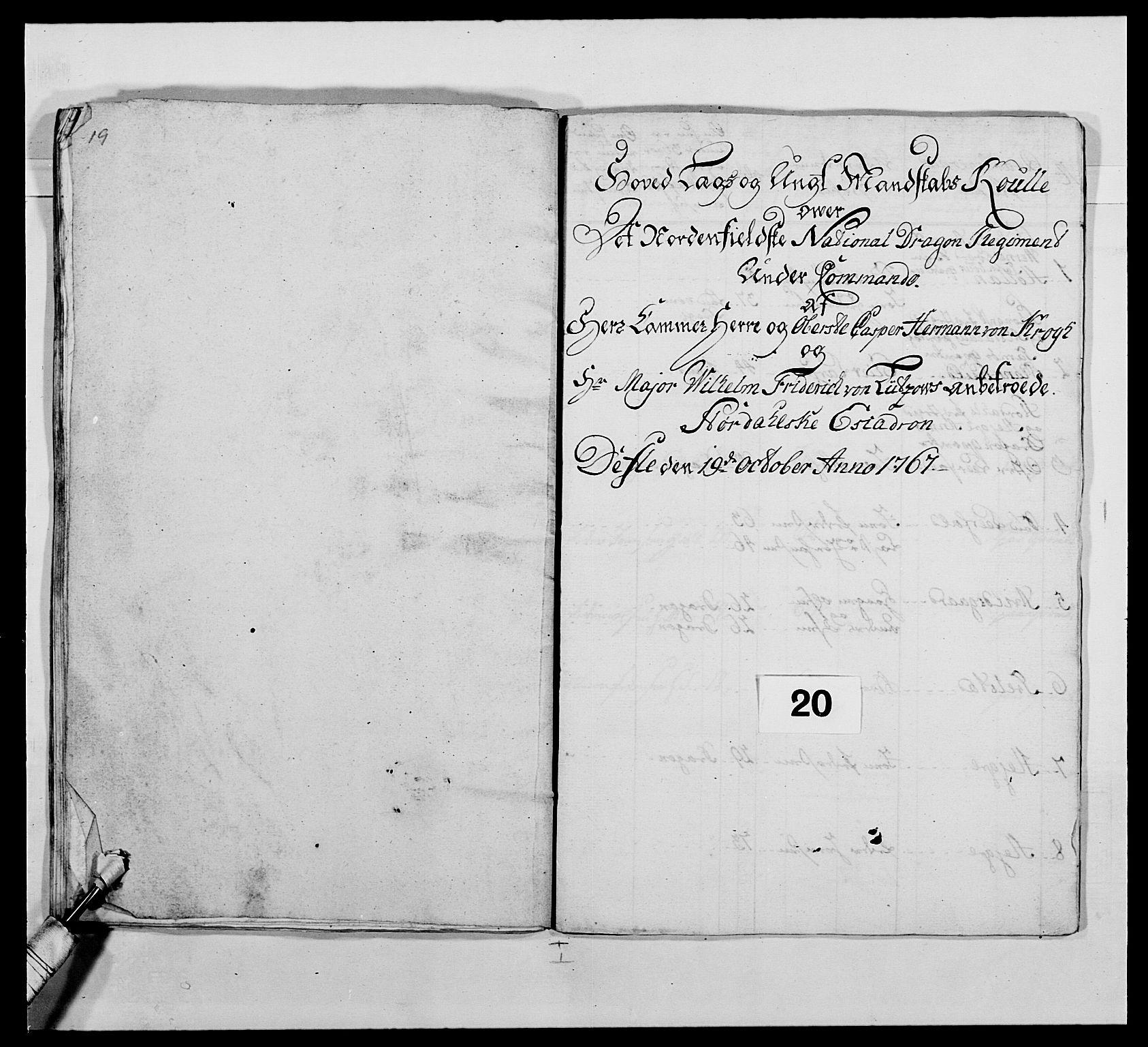 RA, Kommanderende general (KG I) med Det norske krigsdirektorium, E/Ea/L0483: Nordafjelske dragonregiment, 1765-1767, s. 493