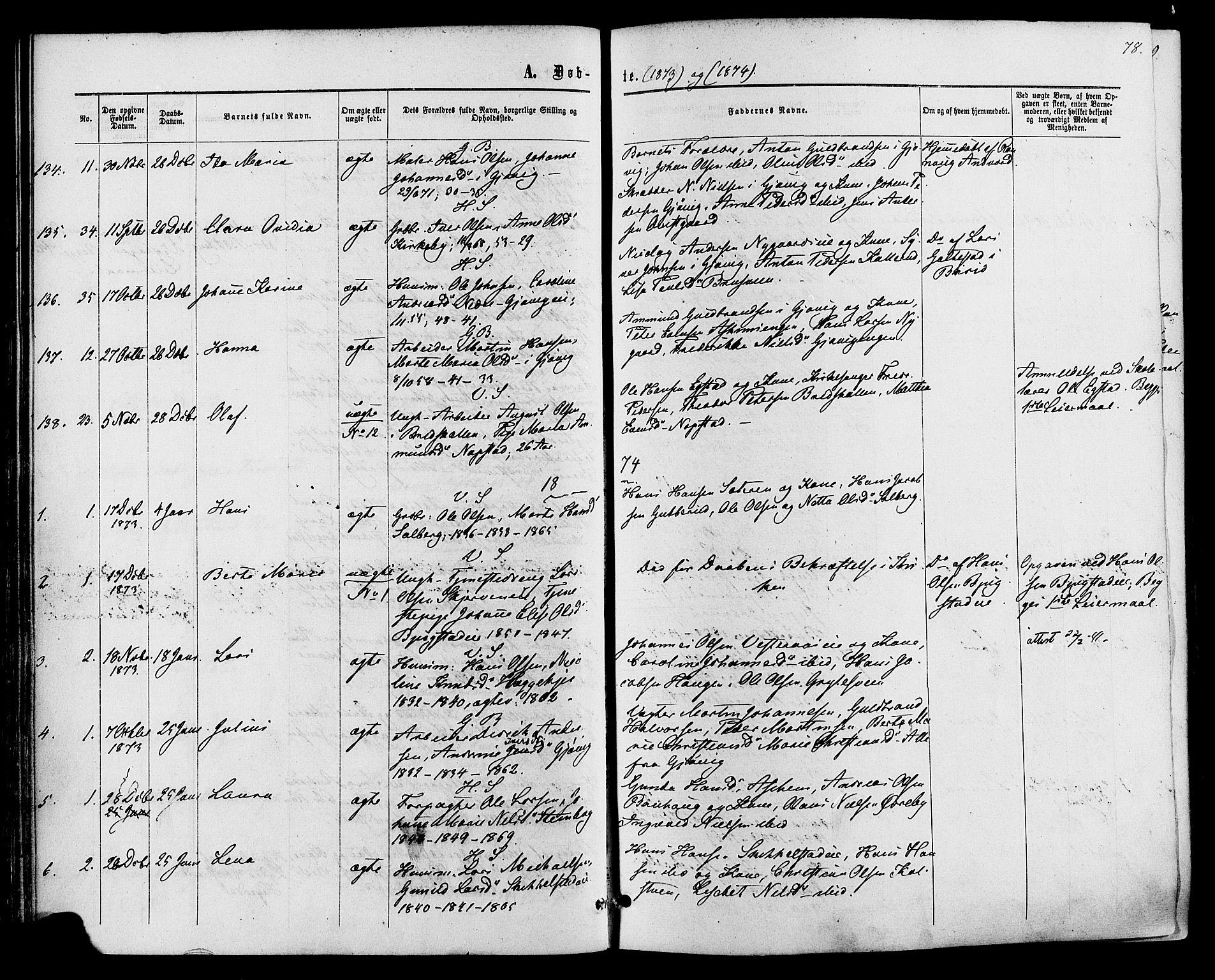 SAH, Vardal prestekontor, H/Ha/Haa/L0007: Ministerialbok nr. 7, 1867-1878, s. 78