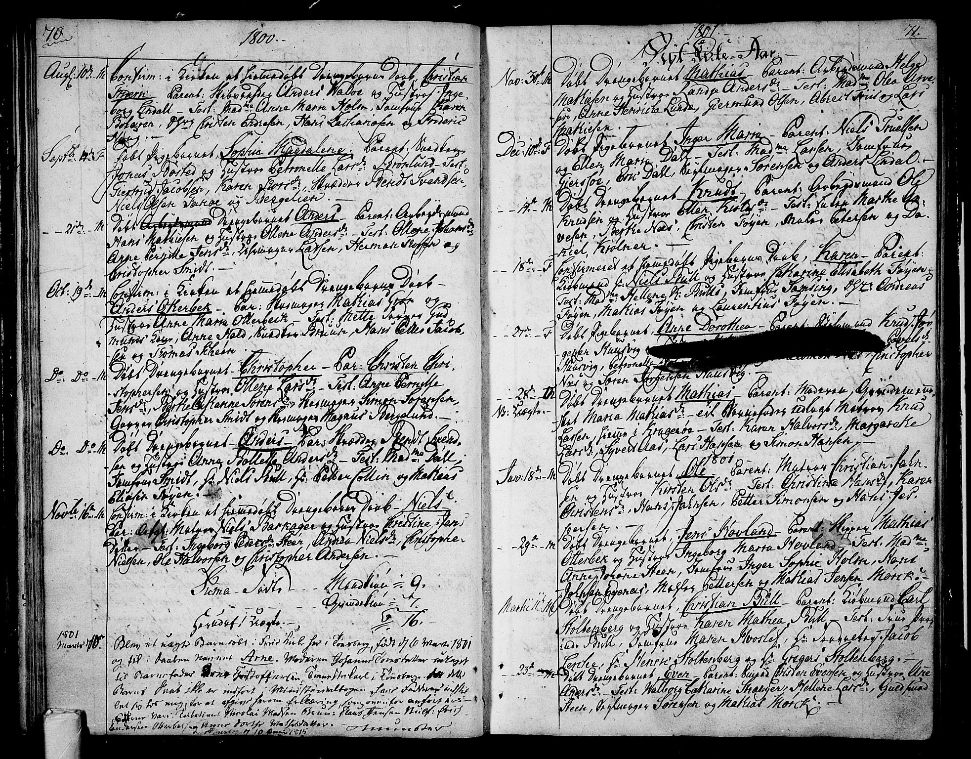 SAKO, Tønsberg kirkebøker, F/Fa/L0003: Ministerialbok nr. I 3, 1797-1814, s. 70-71