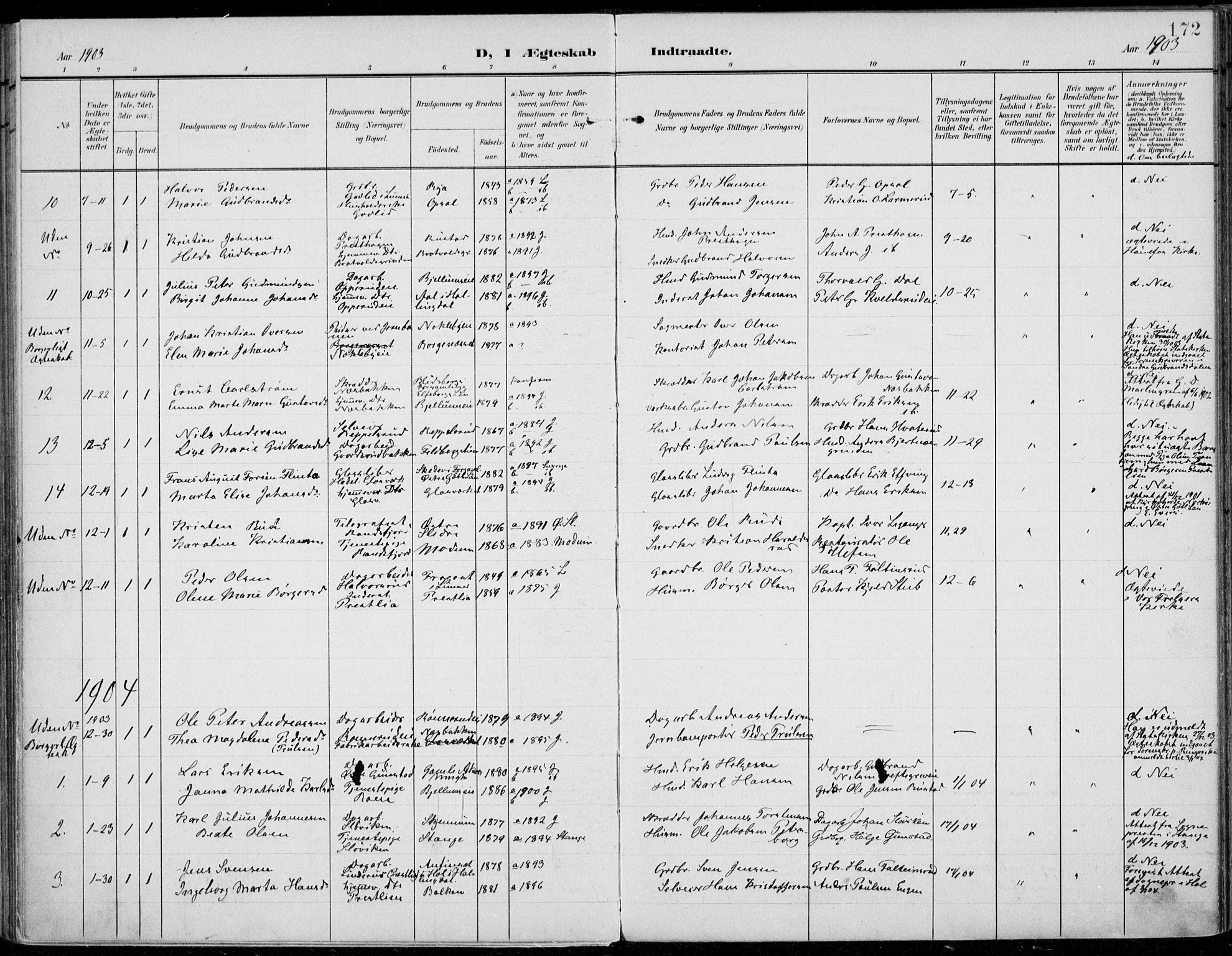 SAH, Jevnaker prestekontor, Ministerialbok nr. 11, 1902-1913, s. 172
