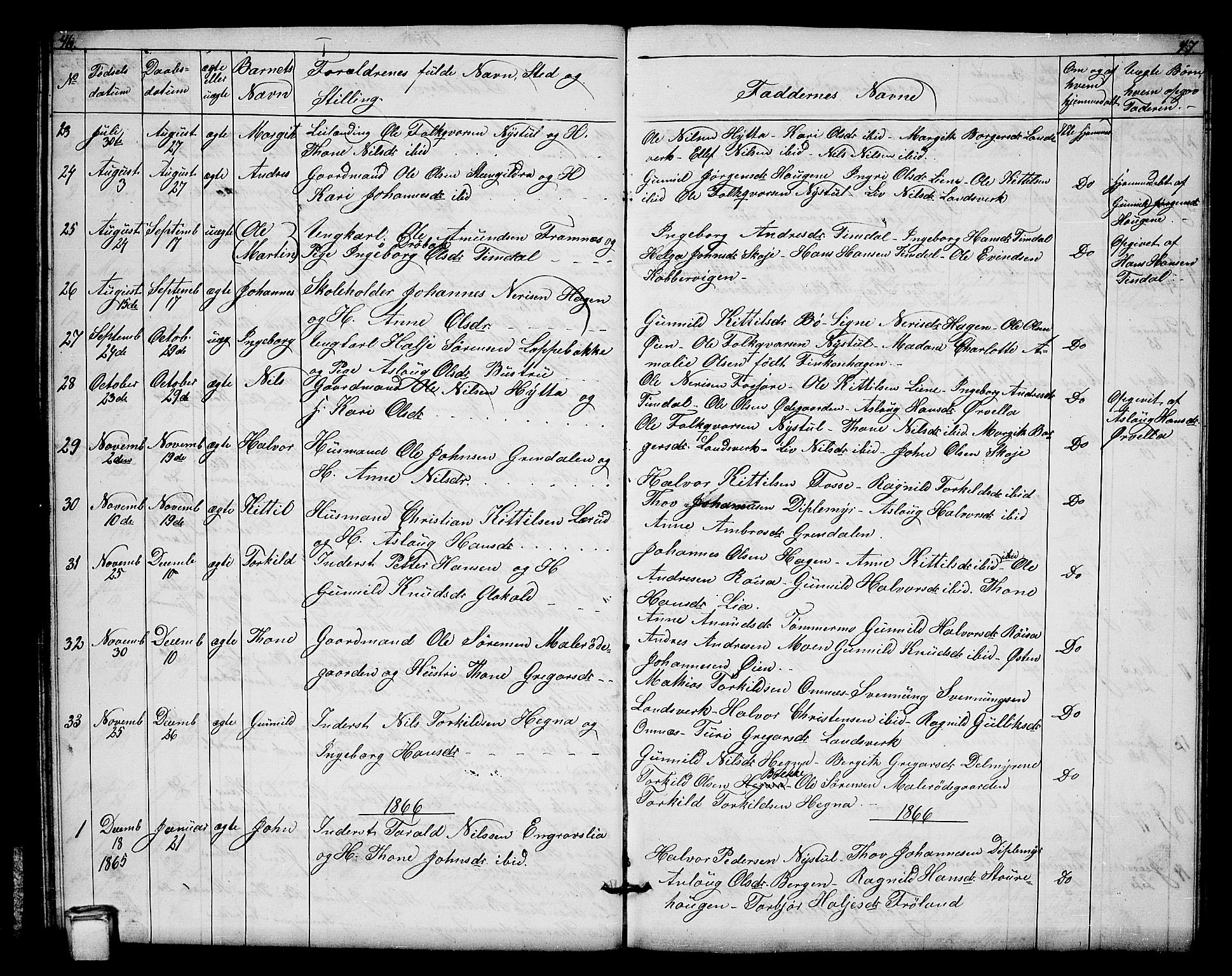SAKO, Hjartdal kirkebøker, G/Gb/L0002: Klokkerbok nr. II 2, 1854-1884, s. 46-47