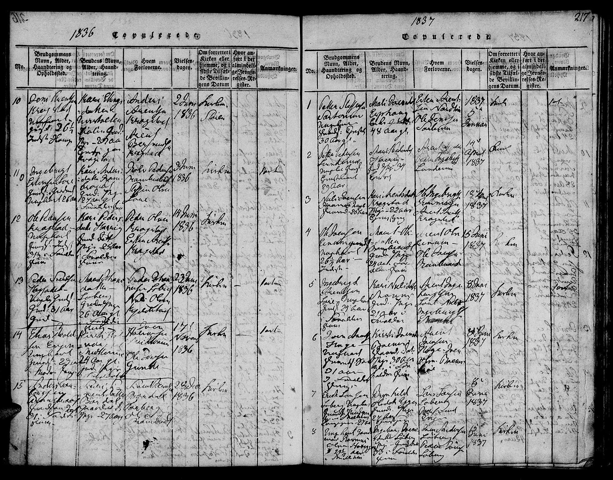 SAT, Ministerialprotokoller, klokkerbøker og fødselsregistre - Sør-Trøndelag, 692/L1102: Ministerialbok nr. 692A02, 1816-1842, s. 217