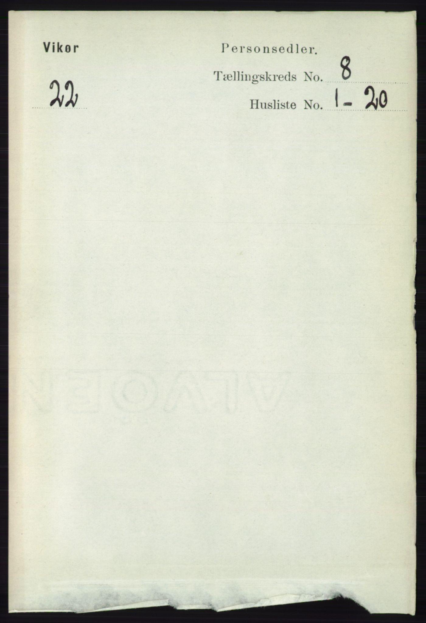RA, Folketelling 1891 for 1238 Vikør herred, 1891, s. 2322