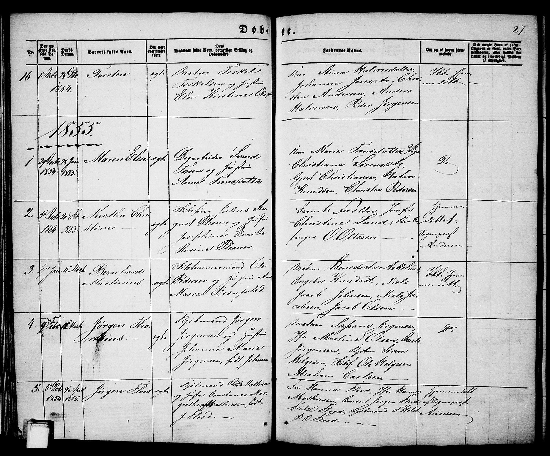 SAKO, Porsgrunn kirkebøker , G/Ga/L0002: Klokkerbok nr. I 2, 1847-1877, s. 27