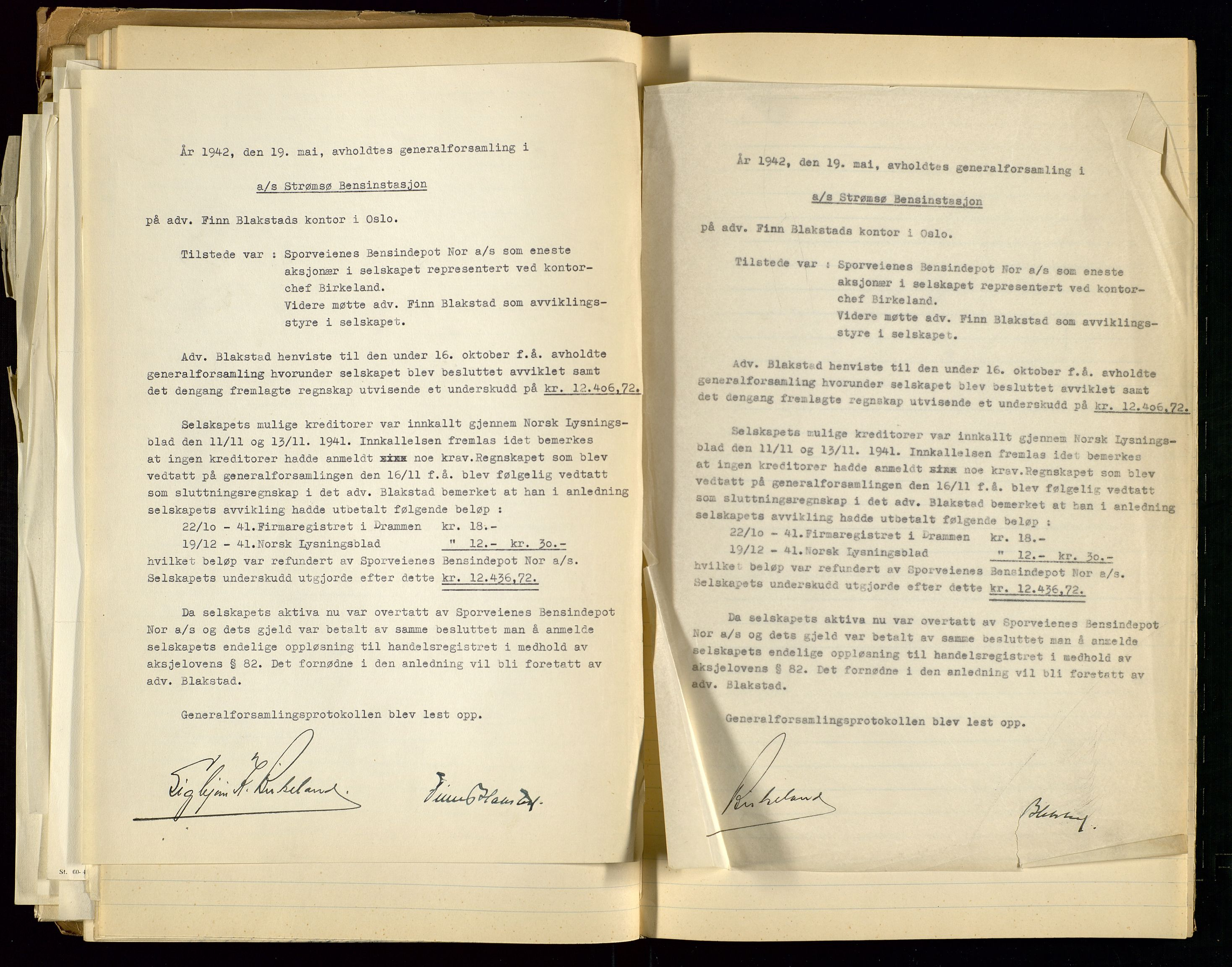 SAST, PA 1517 - A/S Strømsø Bensinstasjon, A/L0001: Referatprotokoll, 1933-1938, s. 56