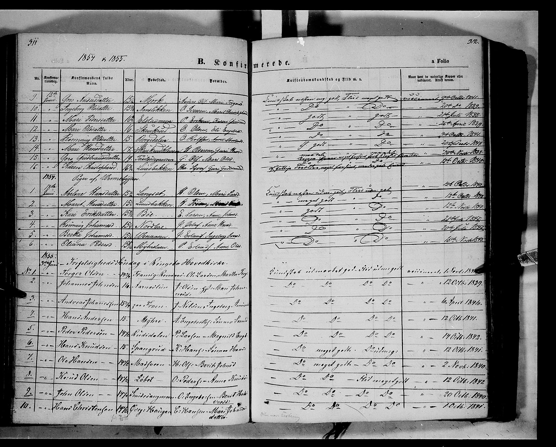 SAH, Ringebu prestekontor, Ministerialbok nr. 6, 1848-1859, s. 311-312