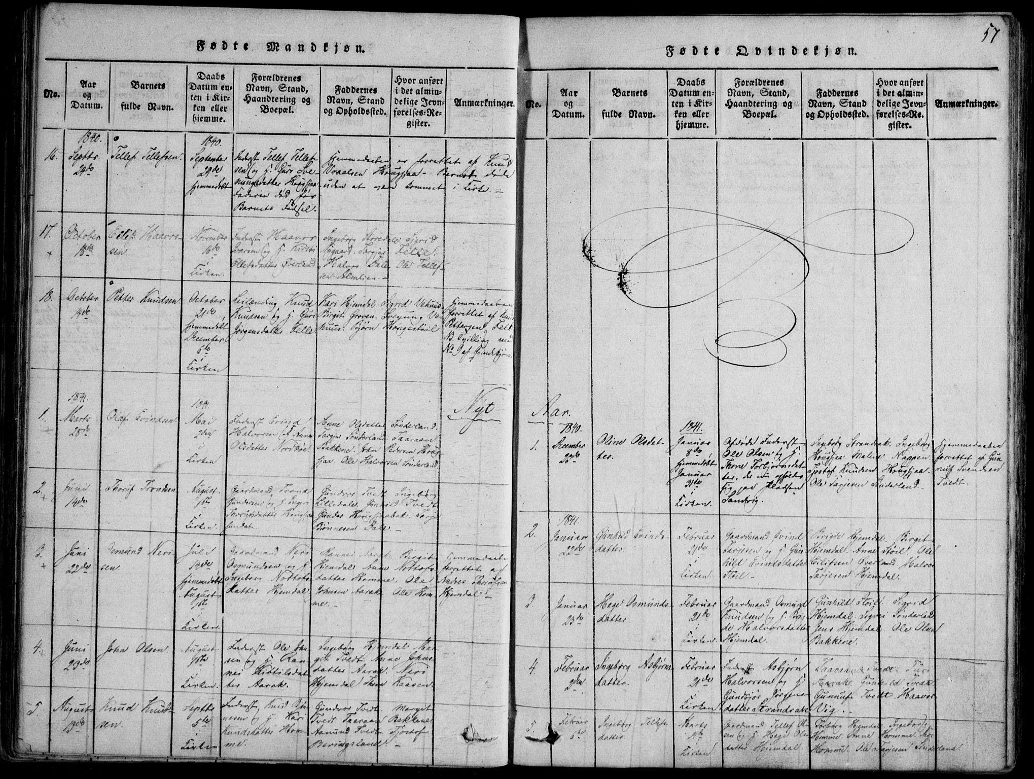 SAKO, Nissedal kirkebøker, F/Fb/L0001: Ministerialbok nr. II 1, 1814-1845, s. 57