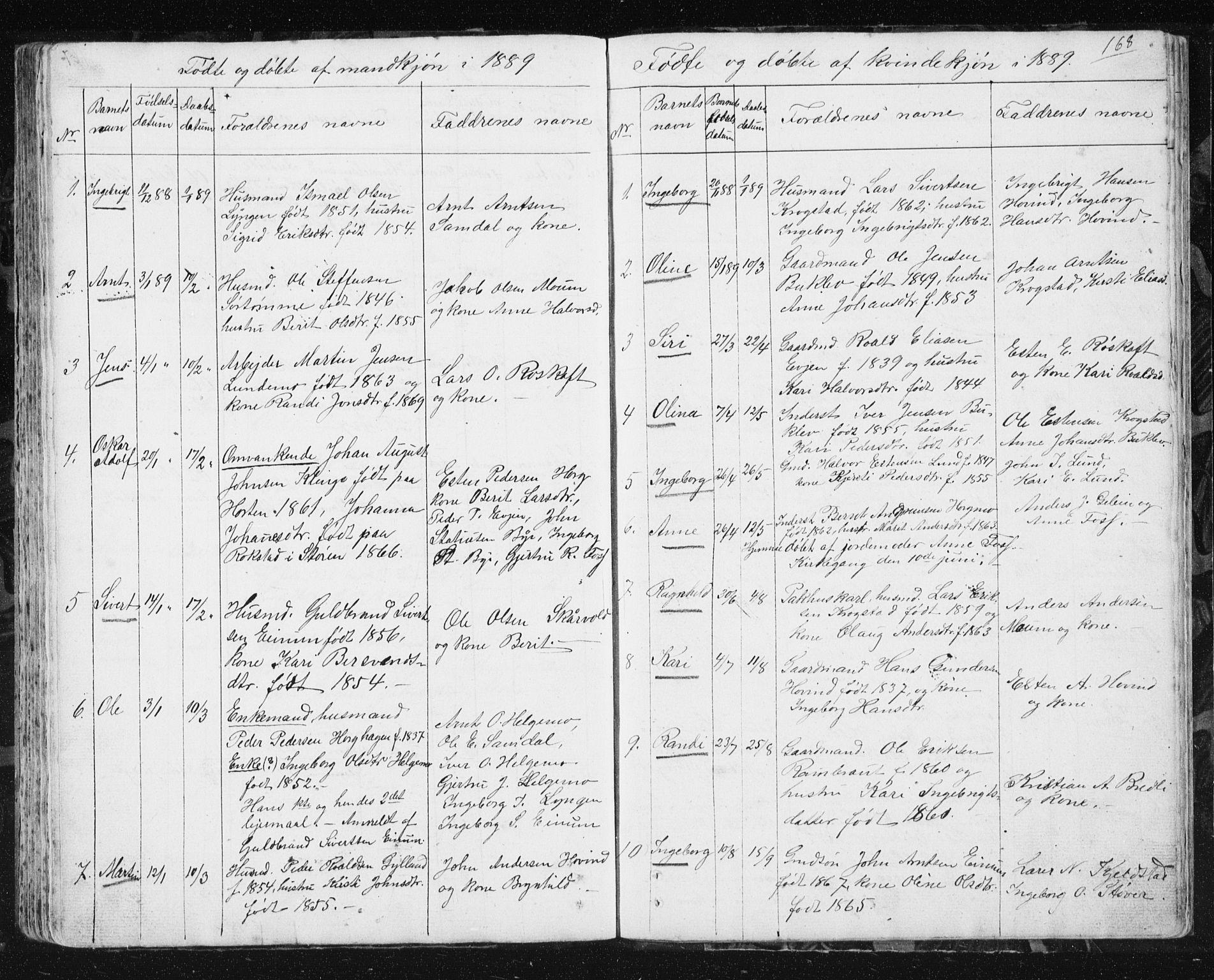 SAT, Ministerialprotokoller, klokkerbøker og fødselsregistre - Sør-Trøndelag, 692/L1110: Klokkerbok nr. 692C05, 1849-1889, s. 168