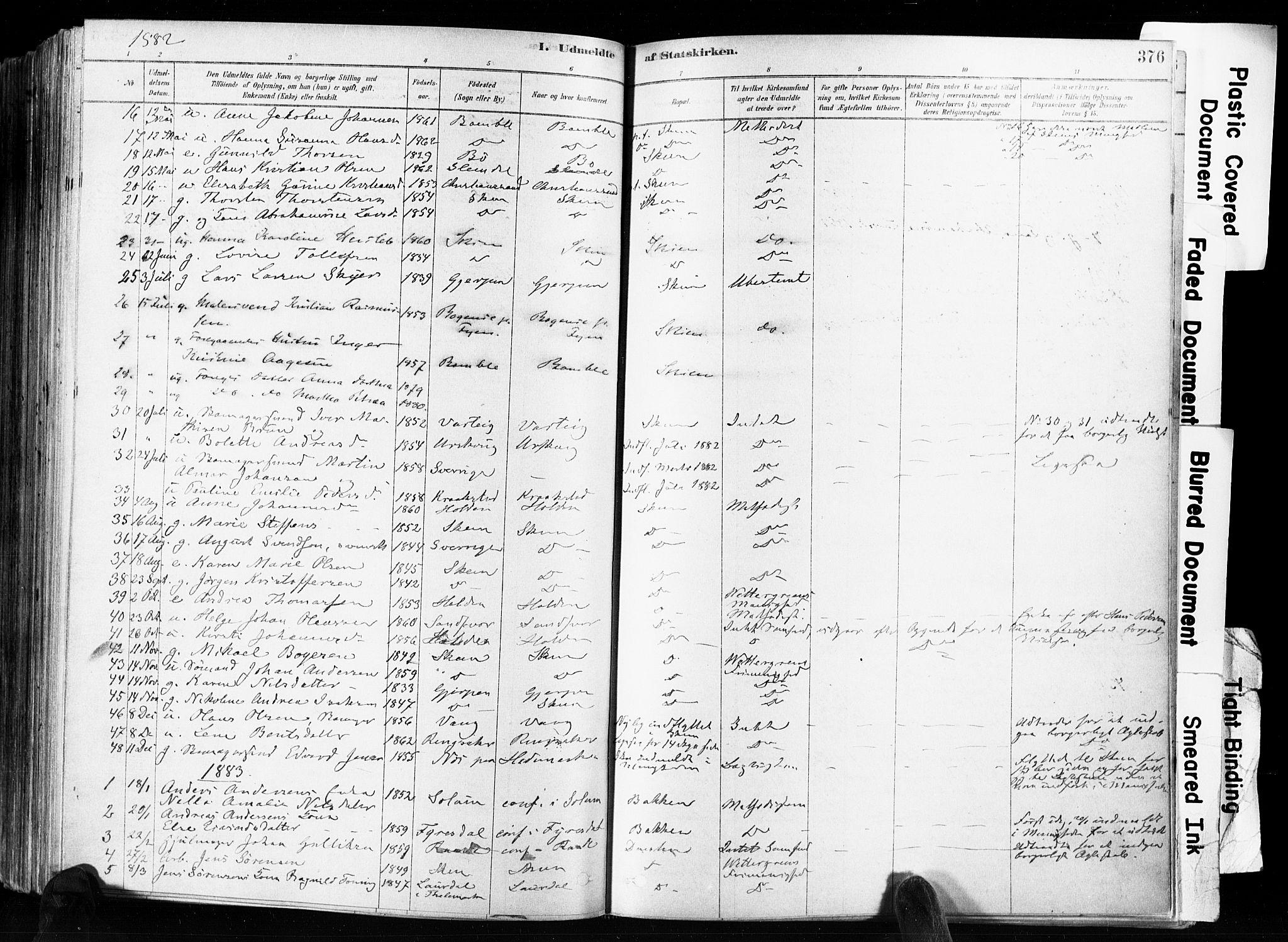 SAKO, Skien kirkebøker, F/Fa/L0009: Ministerialbok nr. 9, 1878-1890, s. 376