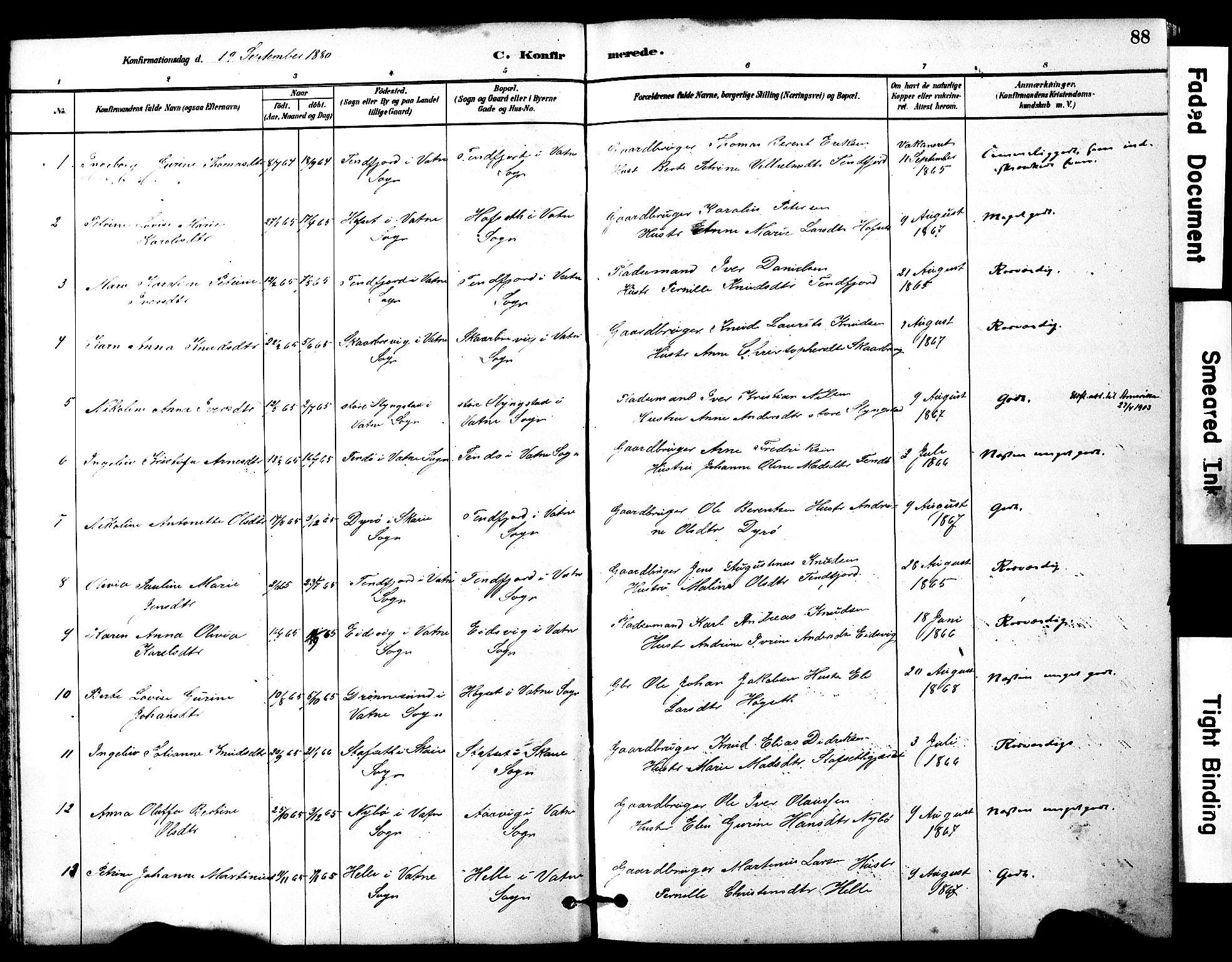 SAT, Ministerialprotokoller, klokkerbøker og fødselsregistre - Møre og Romsdal, 525/L0374: Ministerialbok nr. 525A04, 1880-1899, s. 88