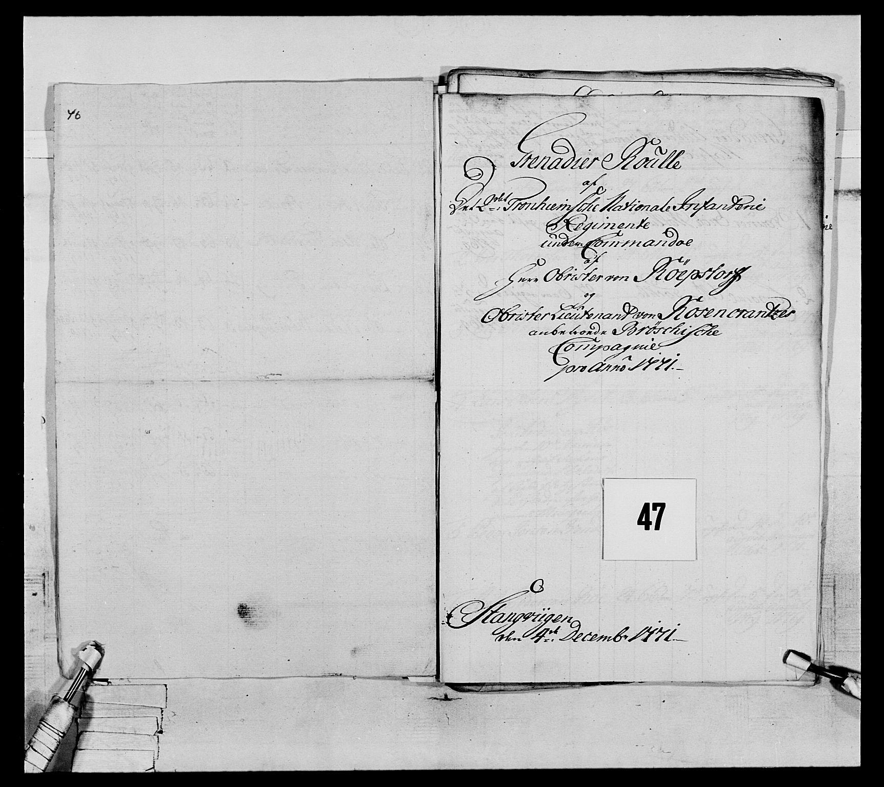 RA, Generalitets- og kommissariatskollegiet, Det kongelige norske kommissariatskollegium, E/Eh/L0076: 2. Trondheimske nasjonale infanteriregiment, 1766-1773, s. 152