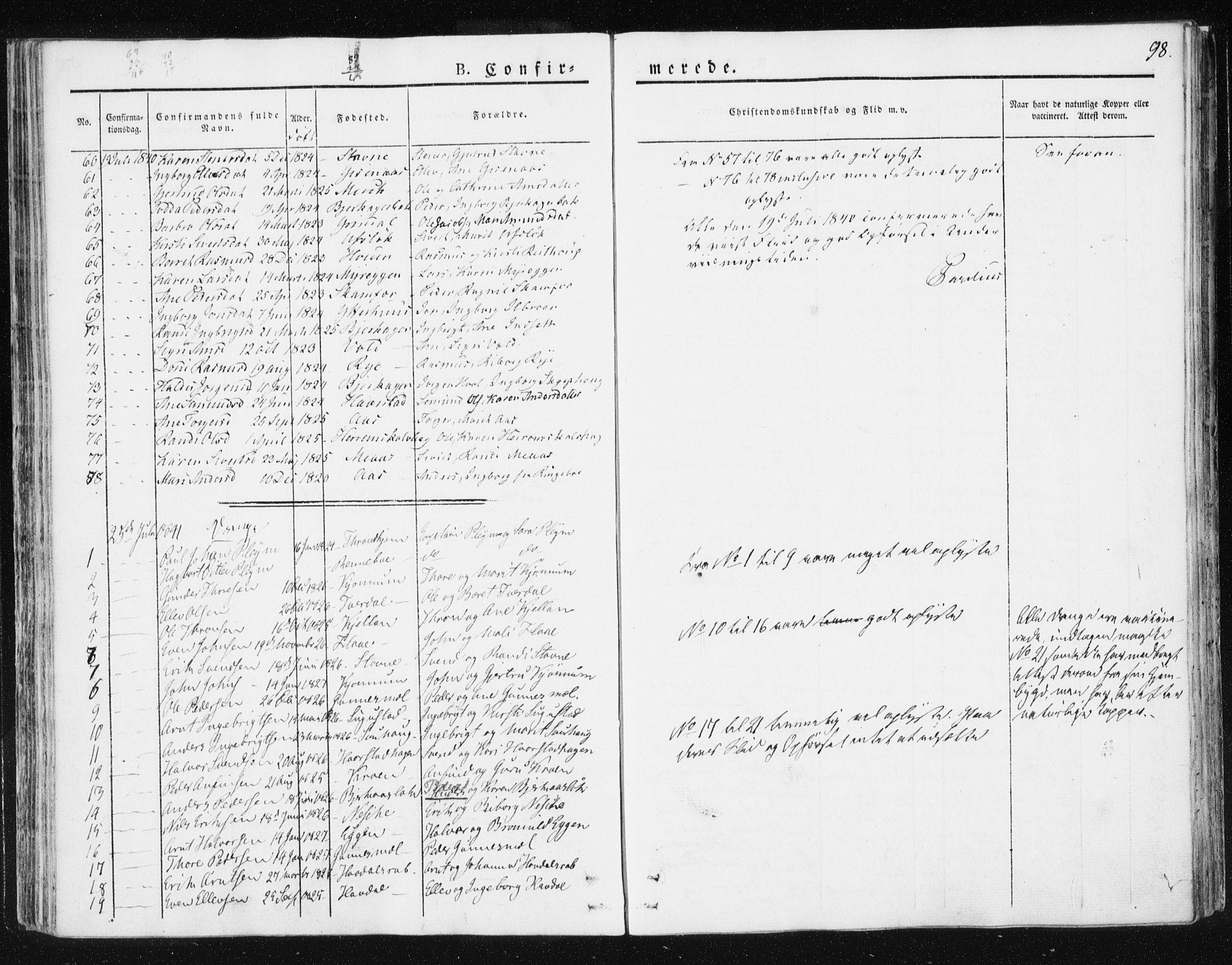 SAT, Ministerialprotokoller, klokkerbøker og fødselsregistre - Sør-Trøndelag, 674/L0869: Ministerialbok nr. 674A01, 1829-1860, s. 98