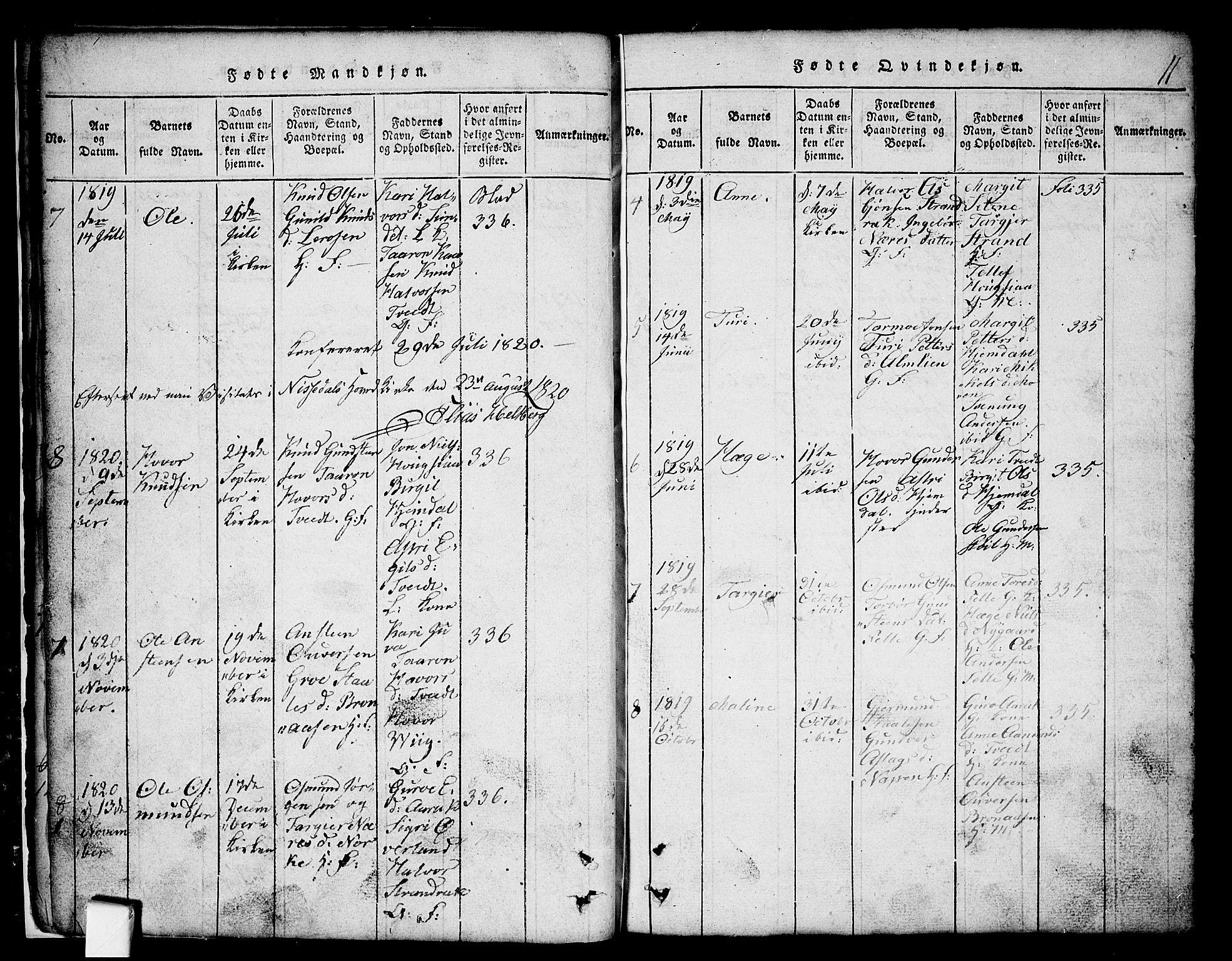 SAKO, Nissedal kirkebøker, G/Gb/L0001: Klokkerbok nr. II 1, 1814-1862, s. 11