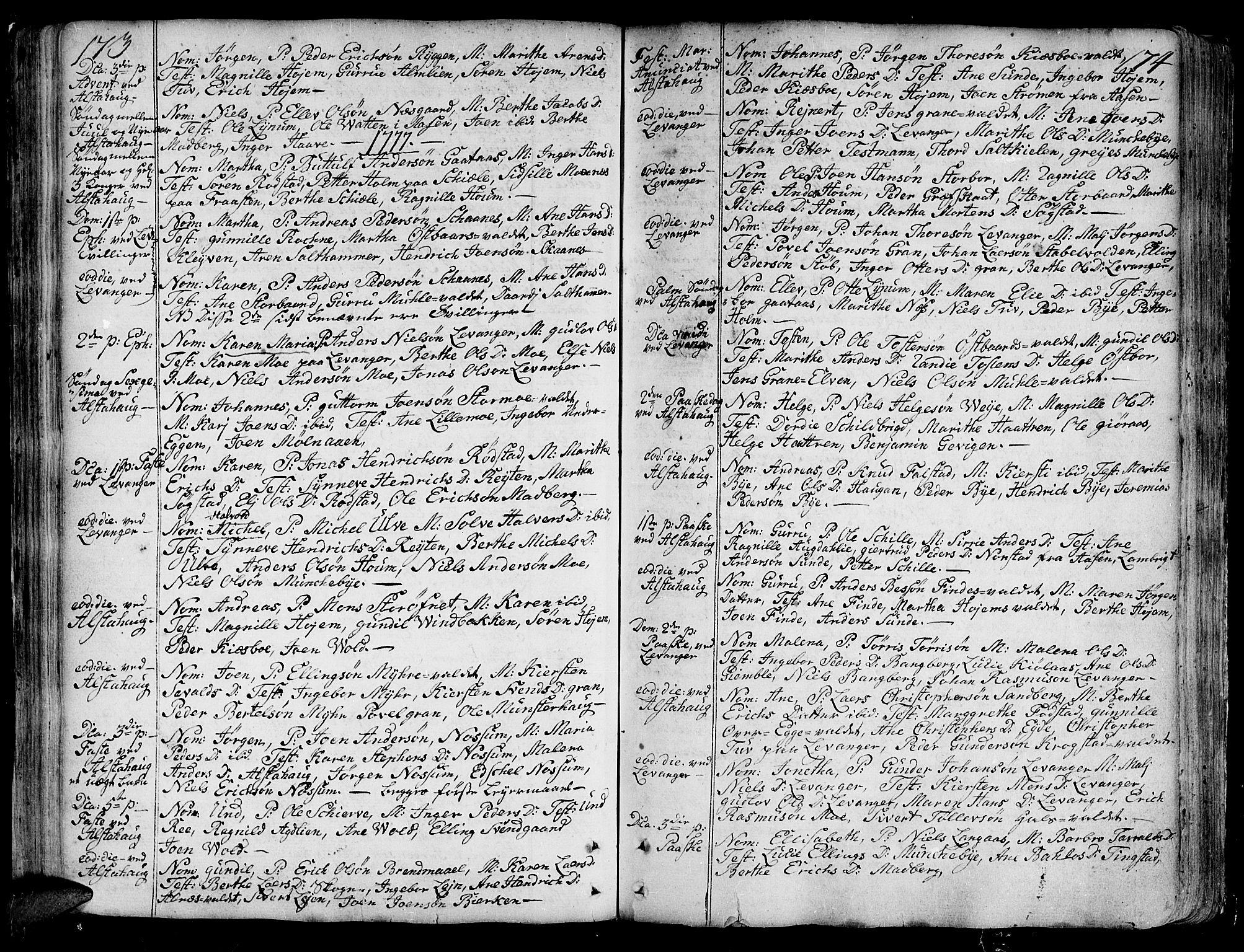 SAT, Ministerialprotokoller, klokkerbøker og fødselsregistre - Nord-Trøndelag, 717/L0141: Ministerialbok nr. 717A01, 1747-1803, s. 173-174