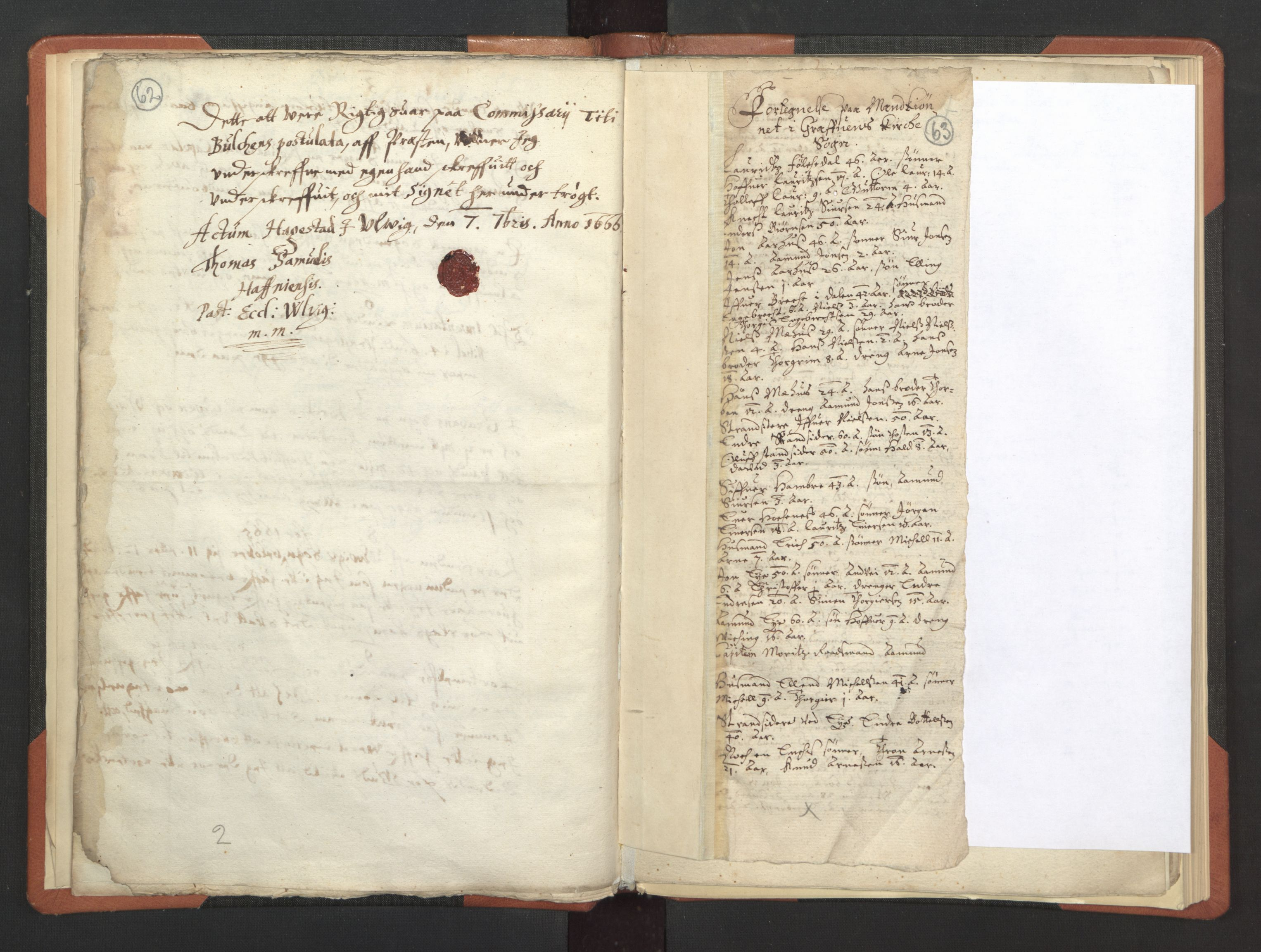 RA, Sogneprestenes manntall 1664-1666, nr. 21: Hardanger prosti, 1664-1666, s. 62-63