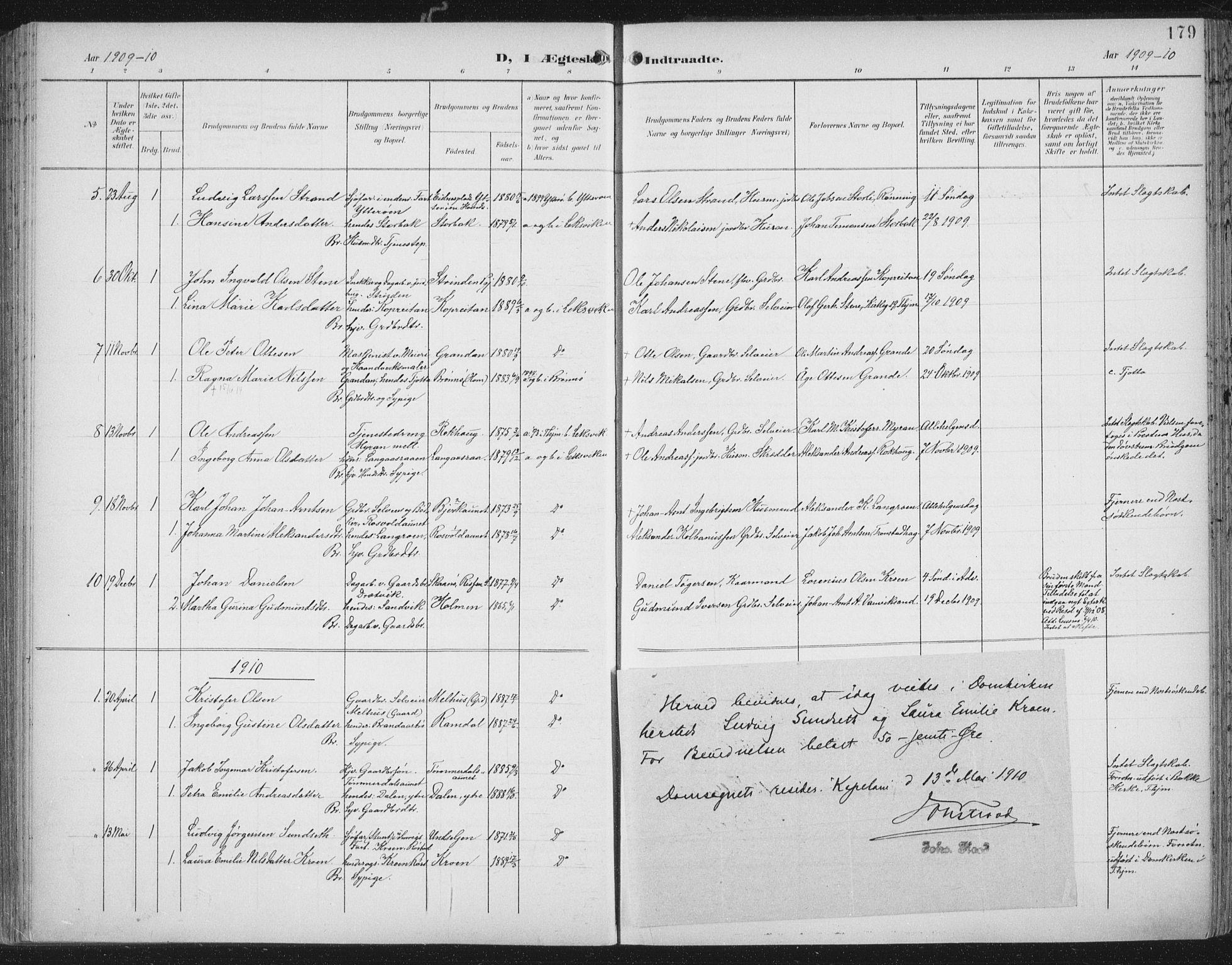 SAT, Ministerialprotokoller, klokkerbøker og fødselsregistre - Nord-Trøndelag, 701/L0011: Ministerialbok nr. 701A11, 1899-1915, s. 179