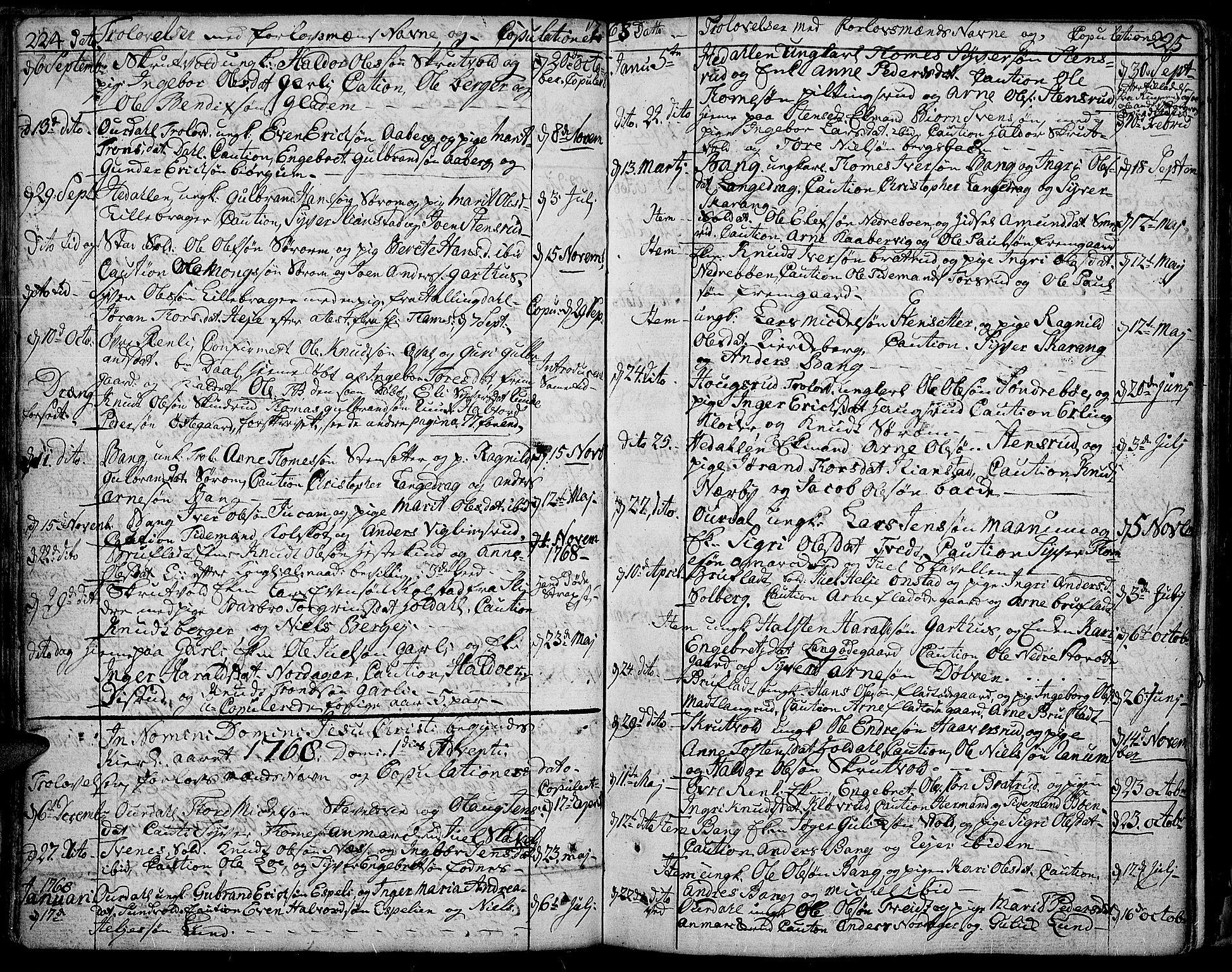 SAH, Aurdal prestekontor, Ministerialbok nr. 5, 1763-1781, s. 224-225