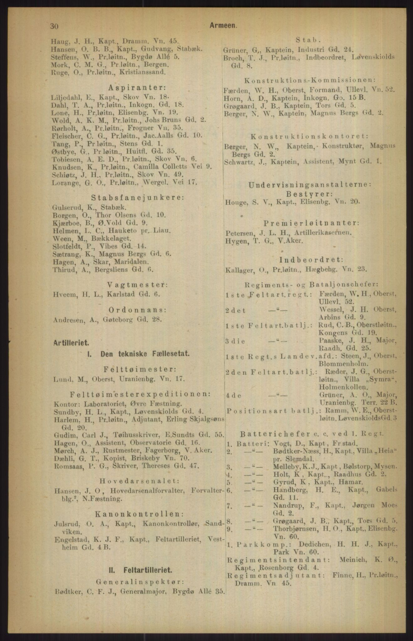 RA, Kristiania adressebok (publikasjon)*, 1911, s. 30