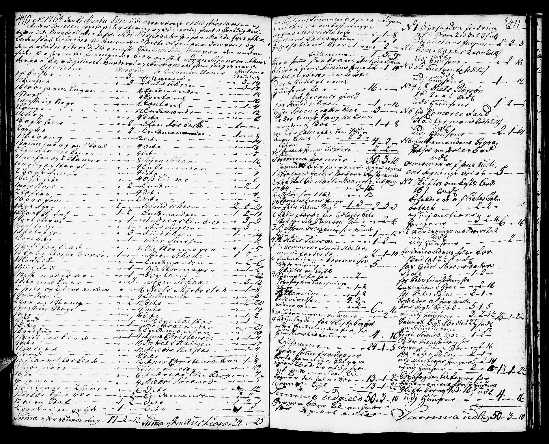 SAT, Molde byfogd, 3/3Aa/L0001: Skifteprotokoll, 1748-1768, s. 410-411