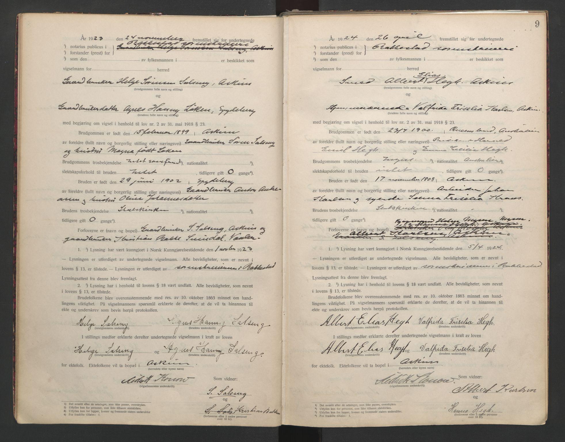 SAO, Rakkestad sorenskriveri, L/Lc/Lca/L0001: Vigselbøker, 1920-1942, s. 9