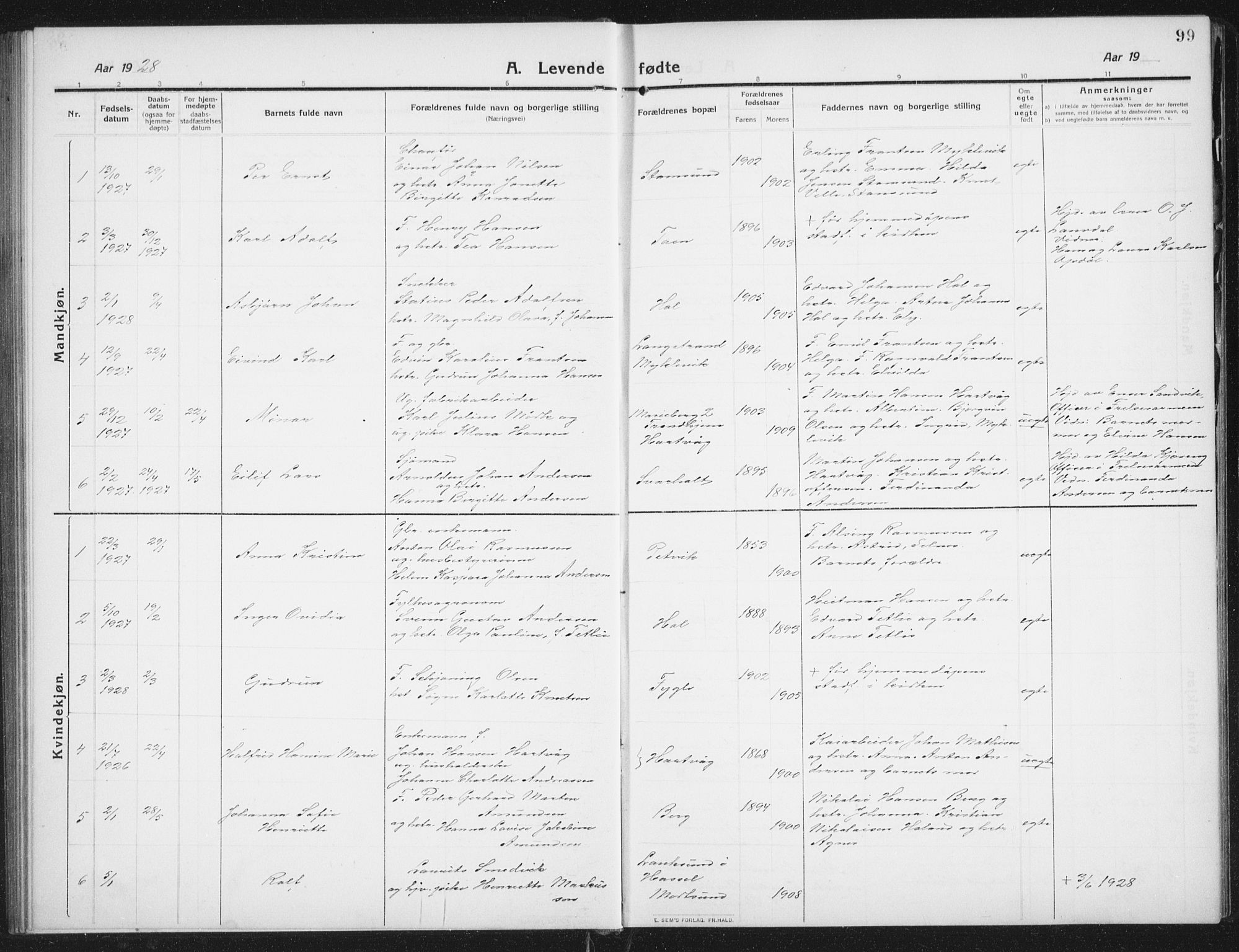 SAT, Ministerialprotokoller, klokkerbøker og fødselsregistre - Nordland, 882/L1183: Klokkerbok nr. 882C01, 1911-1938, s. 99