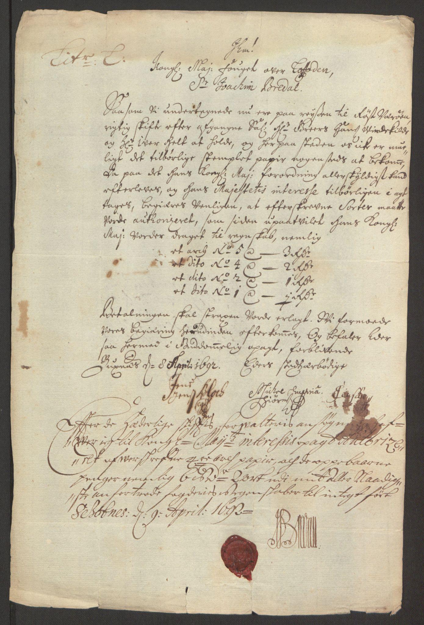 RA, Rentekammeret inntil 1814, Reviderte regnskaper, Fogderegnskap, R67/L4675: Fogderegnskap Vesterålen, Andenes og Lofoten, 1691-1693, s. 202
