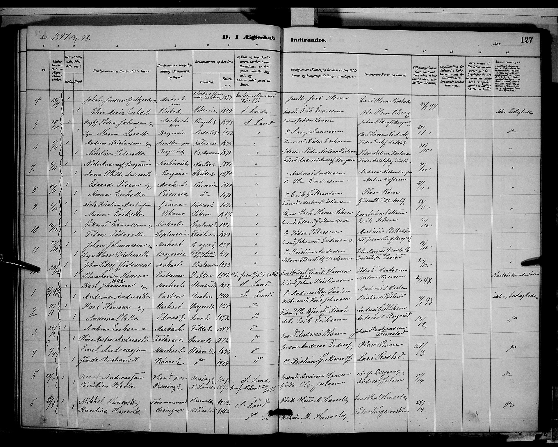 SAH, Søndre Land prestekontor, L/L0003: Klokkerbok nr. 3, 1884-1902, s. 127