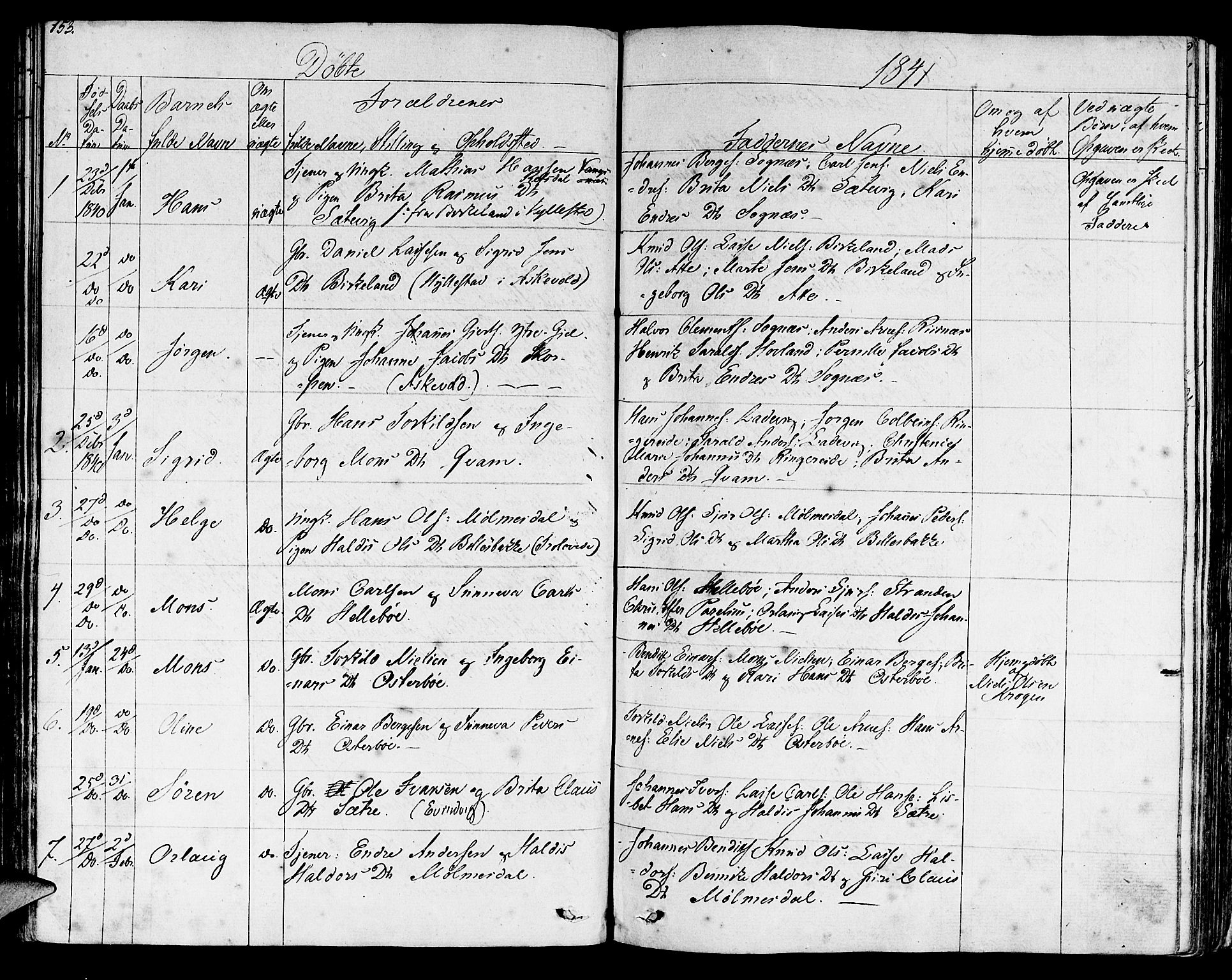 SAB, Lavik sokneprestembete, Ministerialbok nr. A 2I, 1821-1842, s. 153