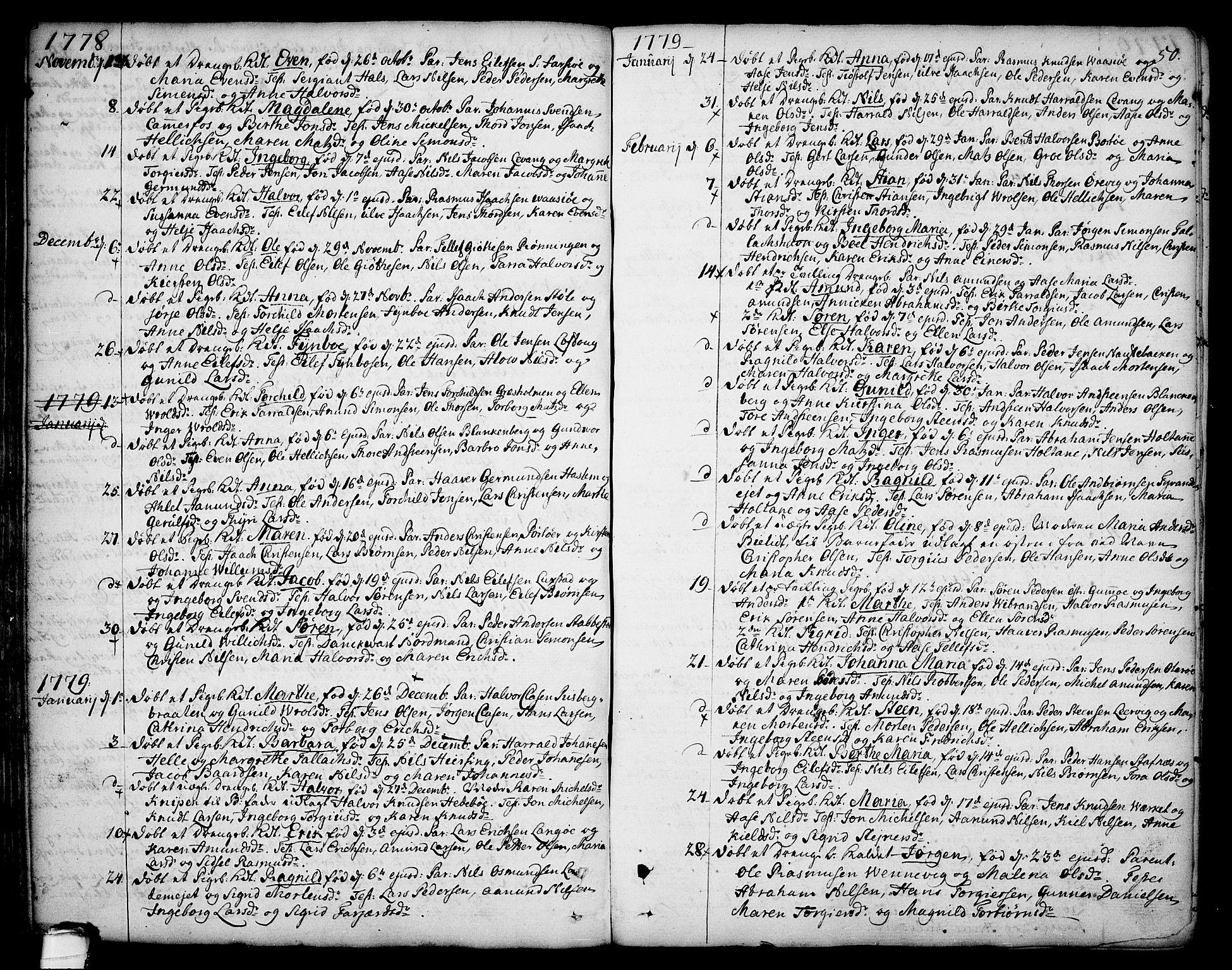 SAKO, Sannidal kirkebøker, F/Fa/L0002: Ministerialbok nr. 2, 1767-1802, s. 50
