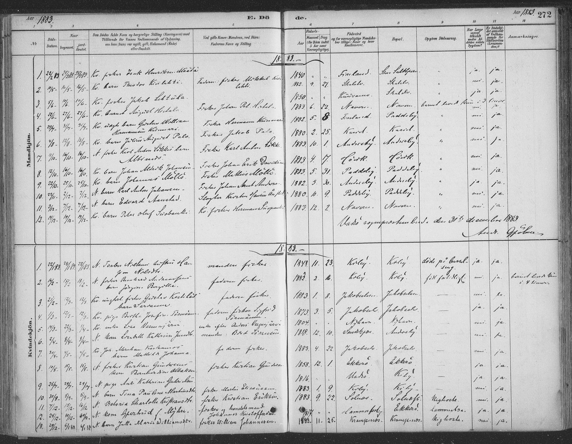 SATØ, Vadsø sokneprestkontor, H/Ha/L0009kirke: Ministerialbok nr. 9, 1881-1917, s. 272