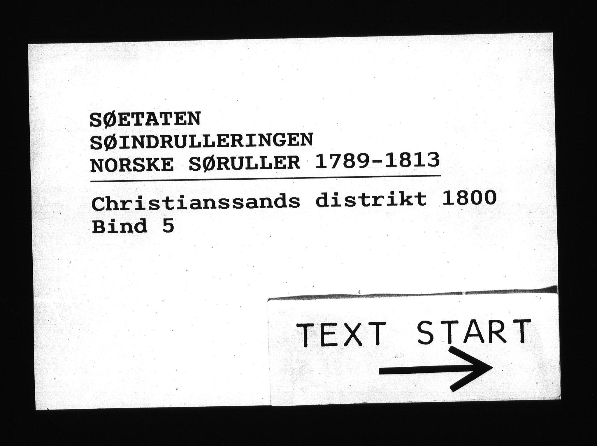 RA, Sjøetaten, F/L0040: Kristiansand distrikt, bind 5, 1800