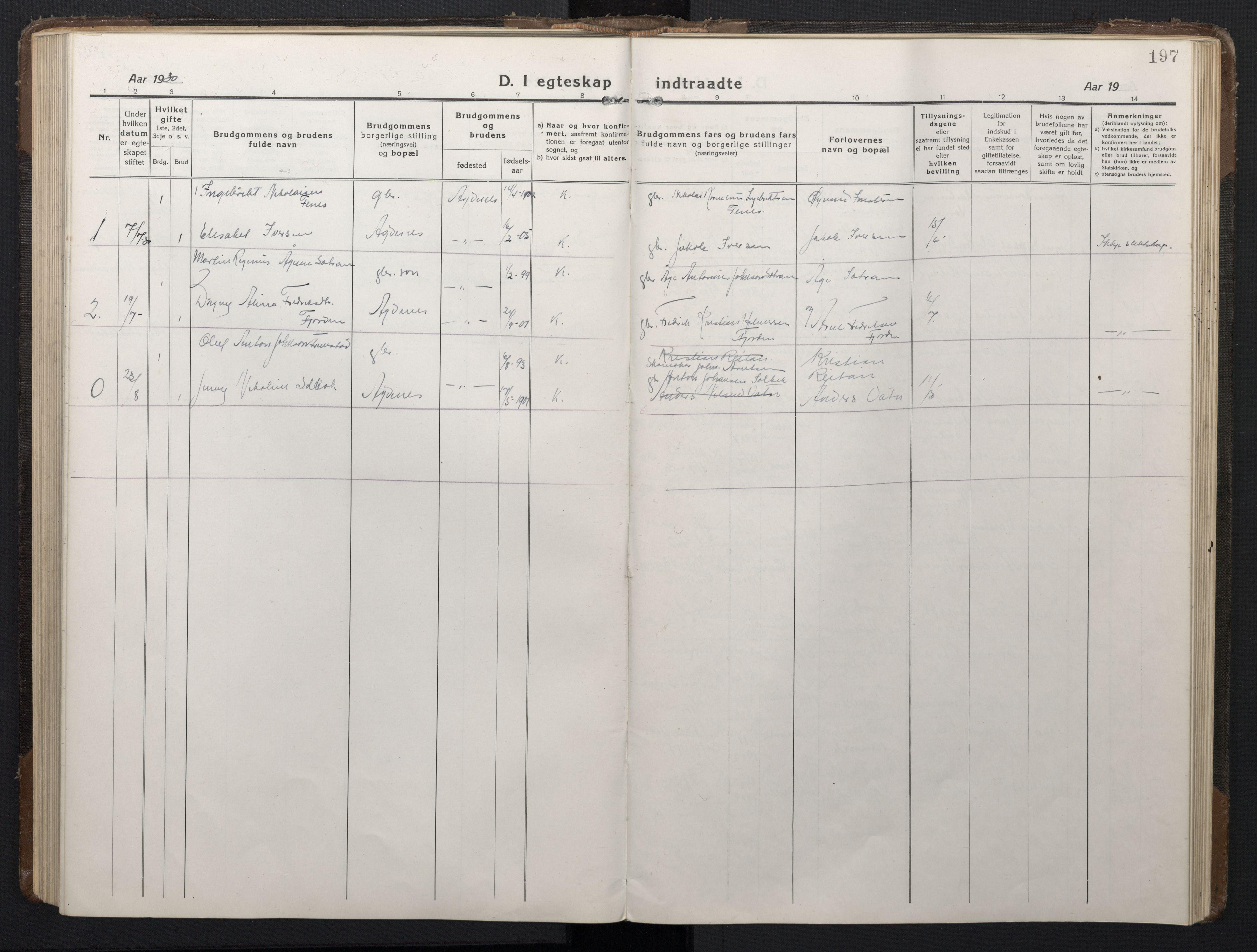 SAT, Ministerialprotokoller, klokkerbøker og fødselsregistre - Sør-Trøndelag, 662/L0758: Klokkerbok nr. 662C03, 1918-1948, s. 197