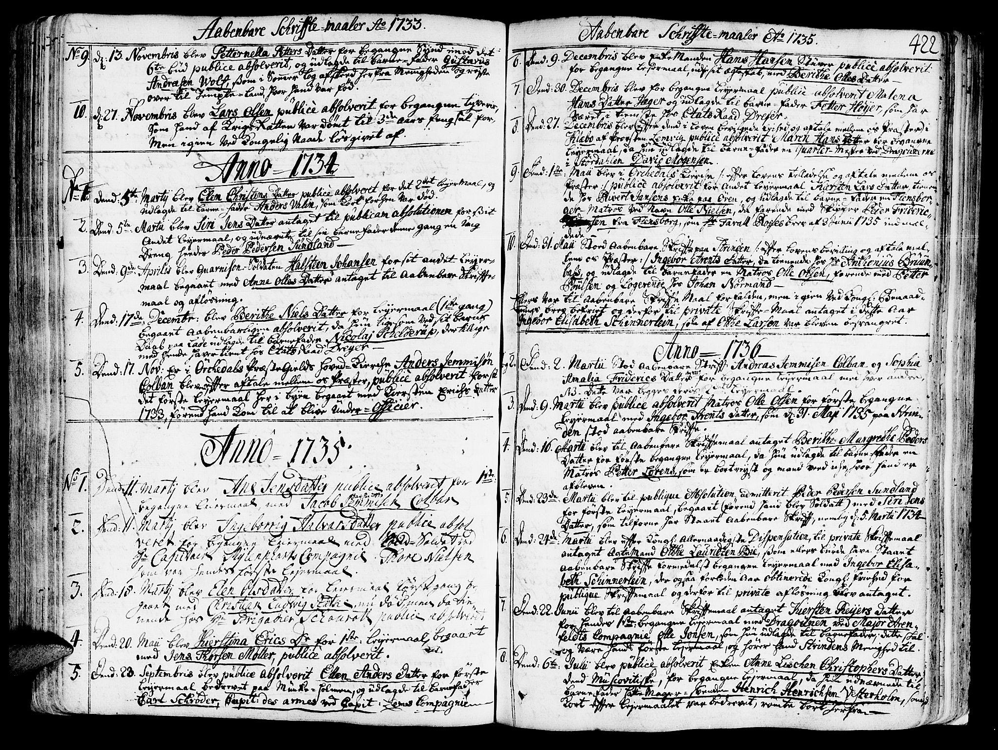SAT, Ministerialprotokoller, klokkerbøker og fødselsregistre - Sør-Trøndelag, 602/L0103: Ministerialbok nr. 602A01, 1732-1774, s. 422
